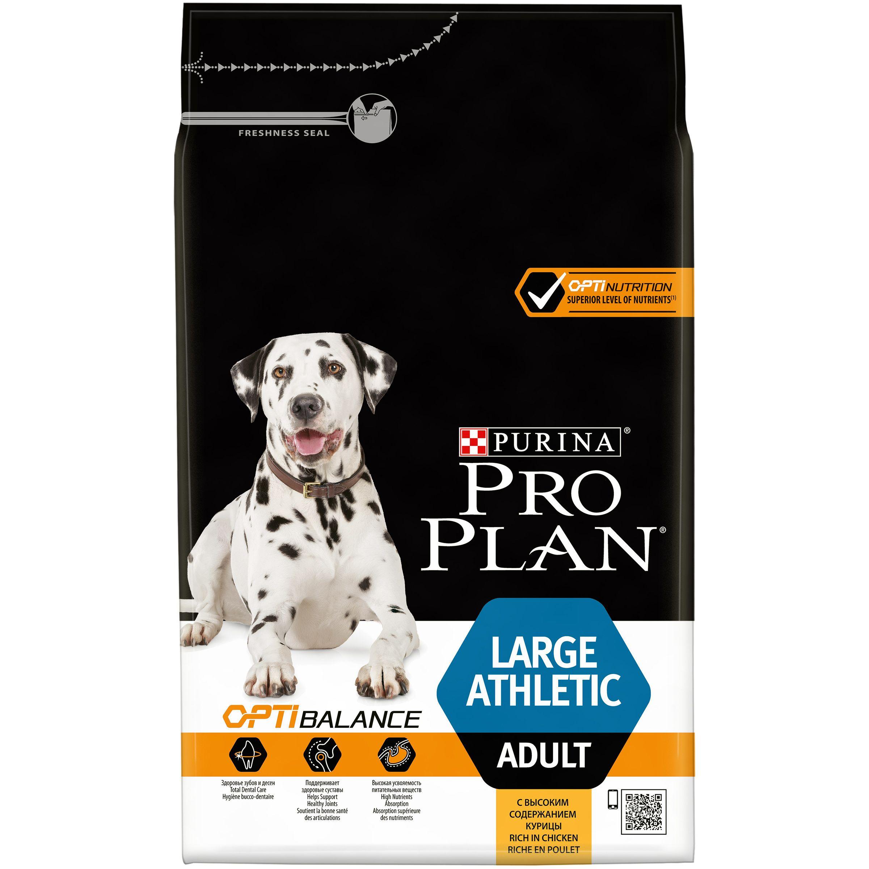 Сухой корм Pro Plan® для взрослых собак крупных пород с атлетическим телосложением, курица с рисом,  3кг