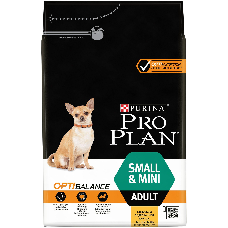 Сухой корм Pro Plan® для взрослых собак мелких и карликовых пород, курица с рисом, 3кг