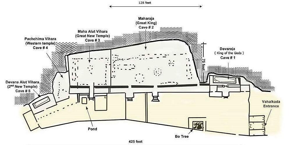 dambulla cave temple map