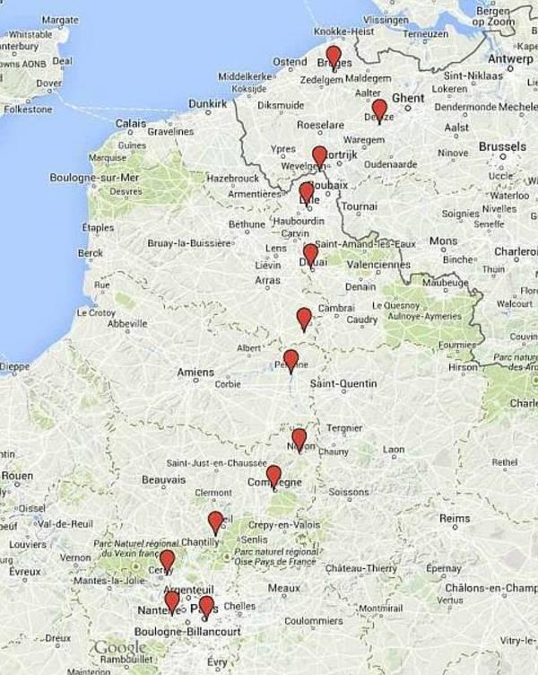 Carte, route Bruges-Paris