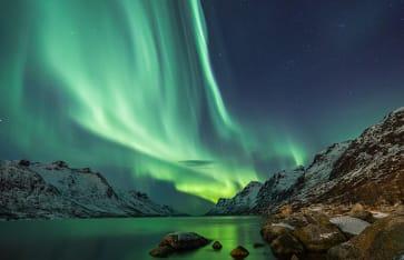 Nordlicht mit Berge, Island