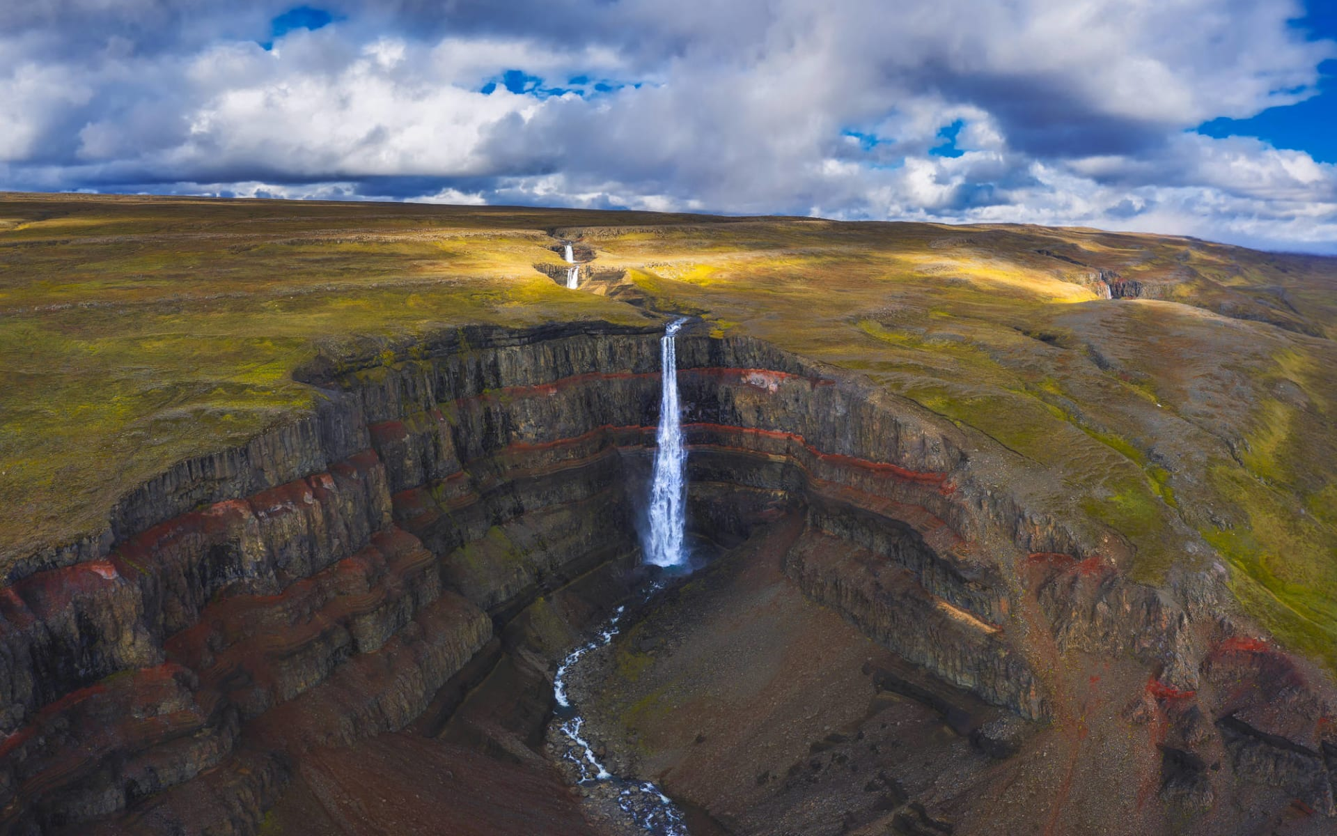 Hengifoss Guesthouse in Faskrudsfördur: Aerial view of the Hengifoss waterfall in East Iceland.