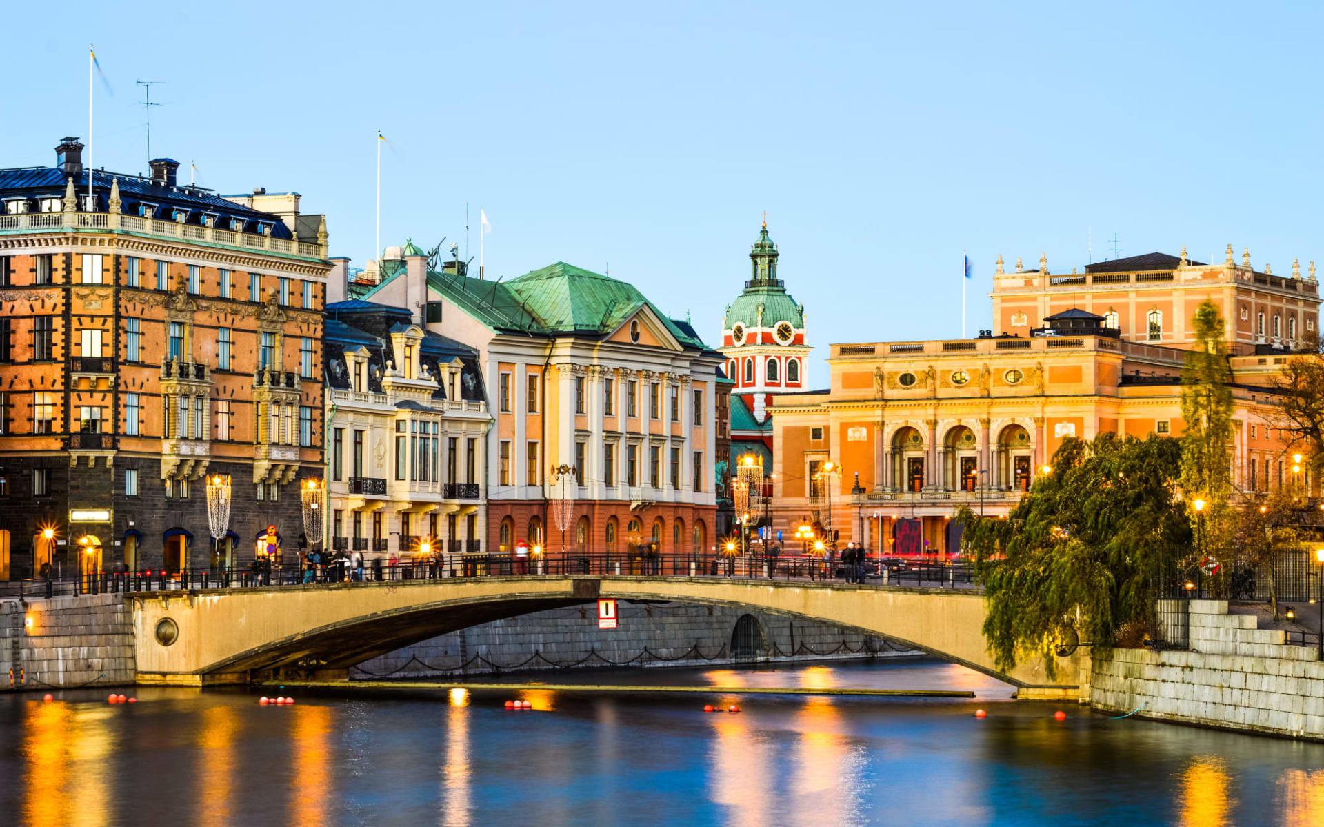 Hotel Clarion Sign in Stockholm: Blick auf das Zentrum von Stockholm bei Sonnenuntergang