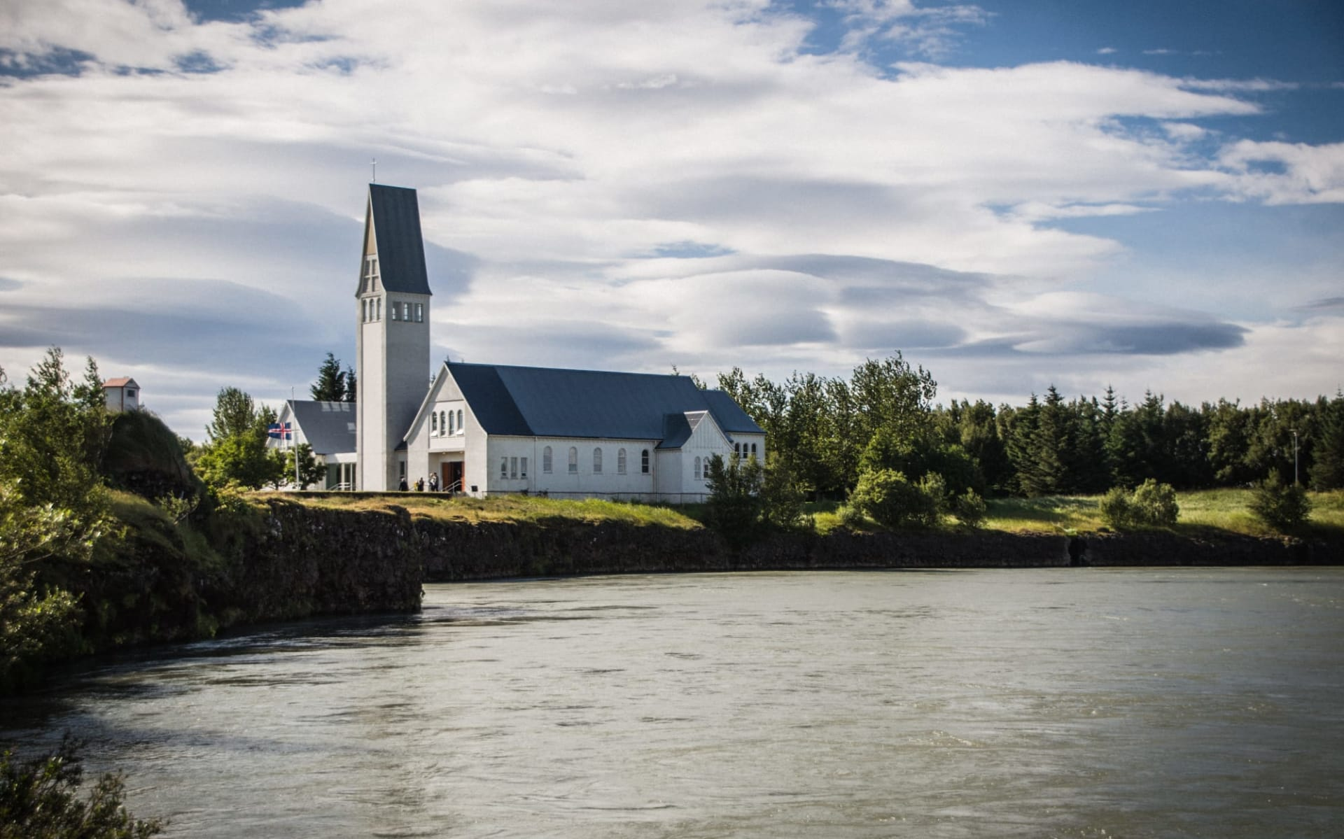 Kast Guesthouse in Reykjavik: Church by the Olfus River in Selfoss Iceland