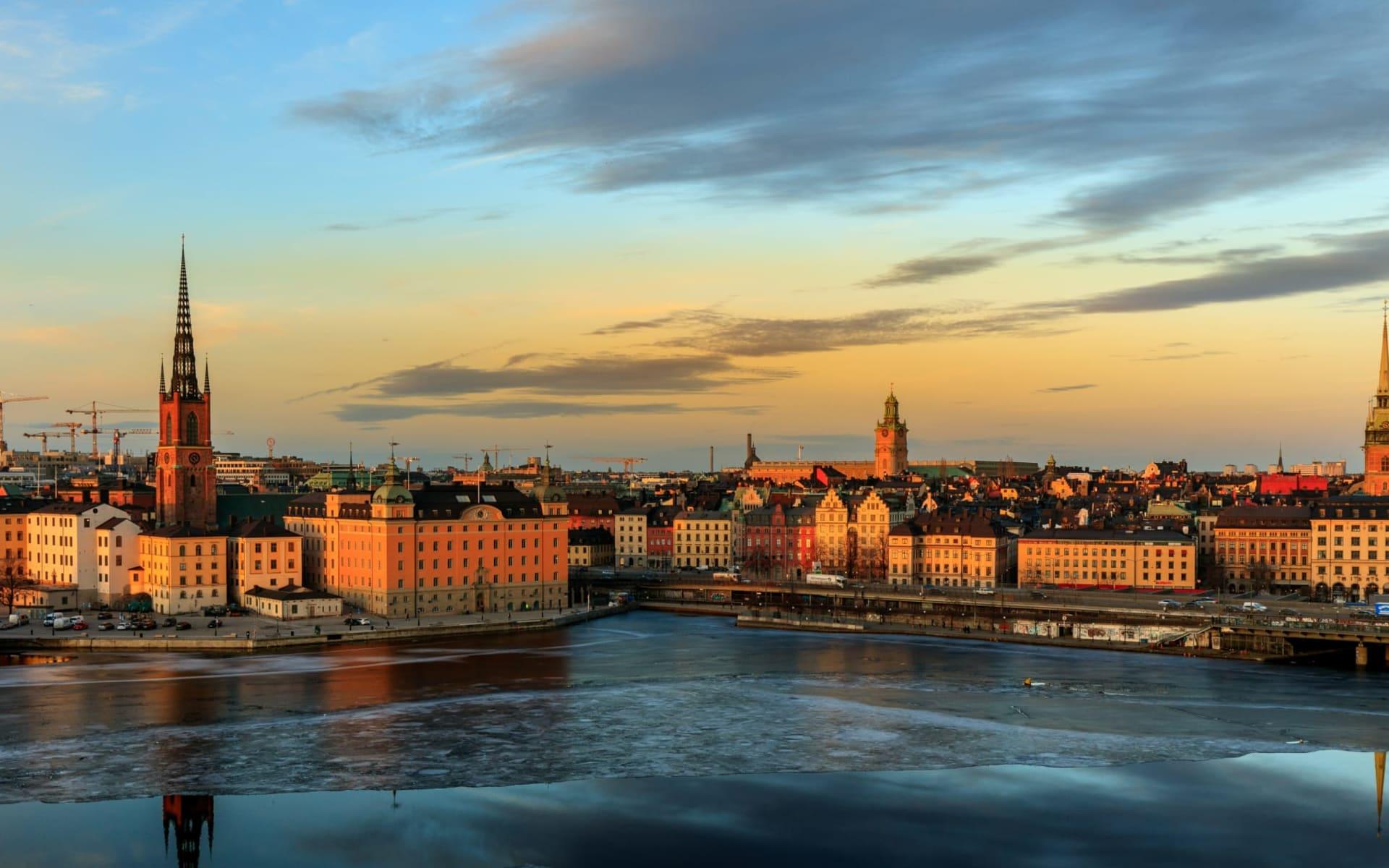First Reisen in Stockholm: Die Skyline von Stockholm Schweden