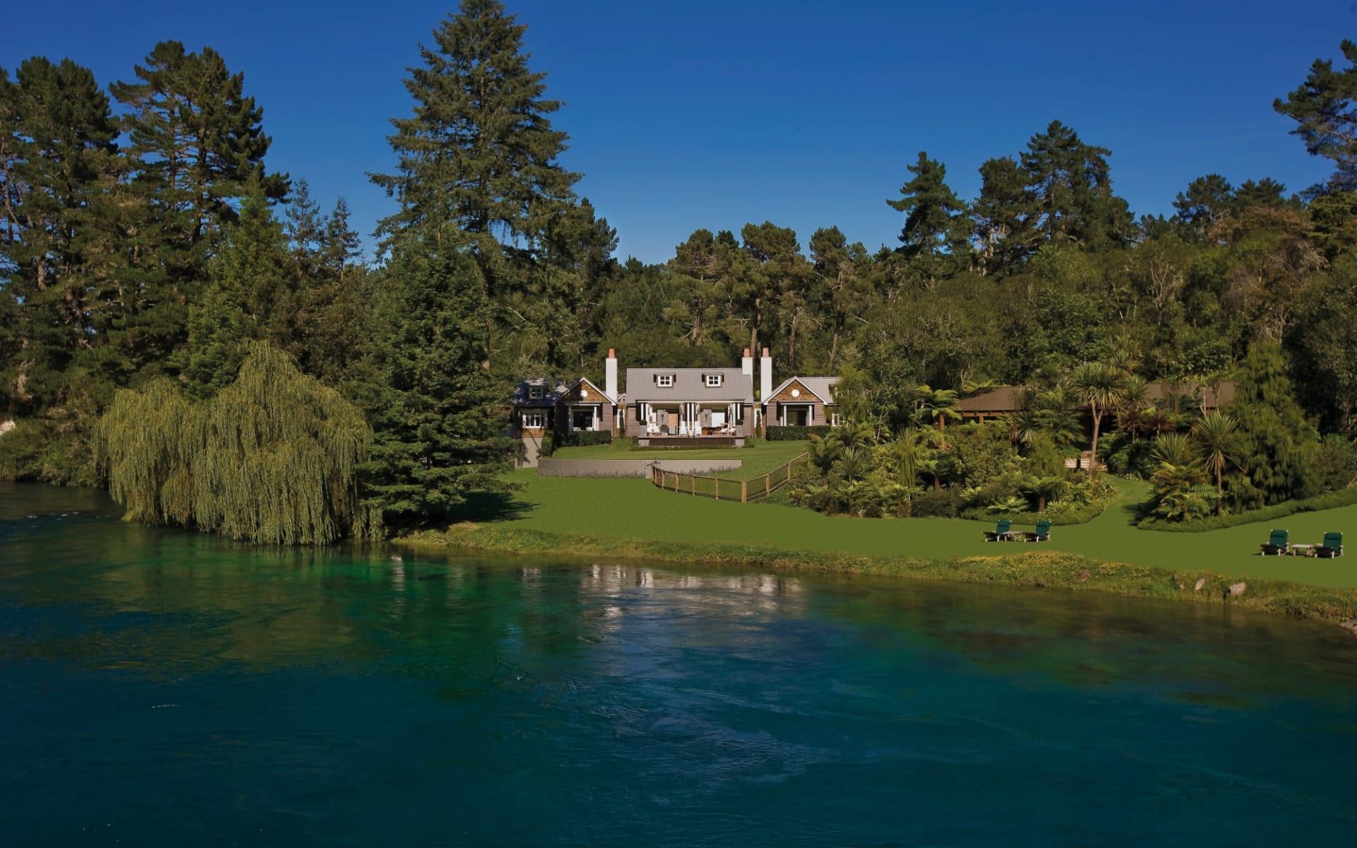 Huka Lodge in Taupo:  Alan Pye Cottage Exterior Over River_84863
