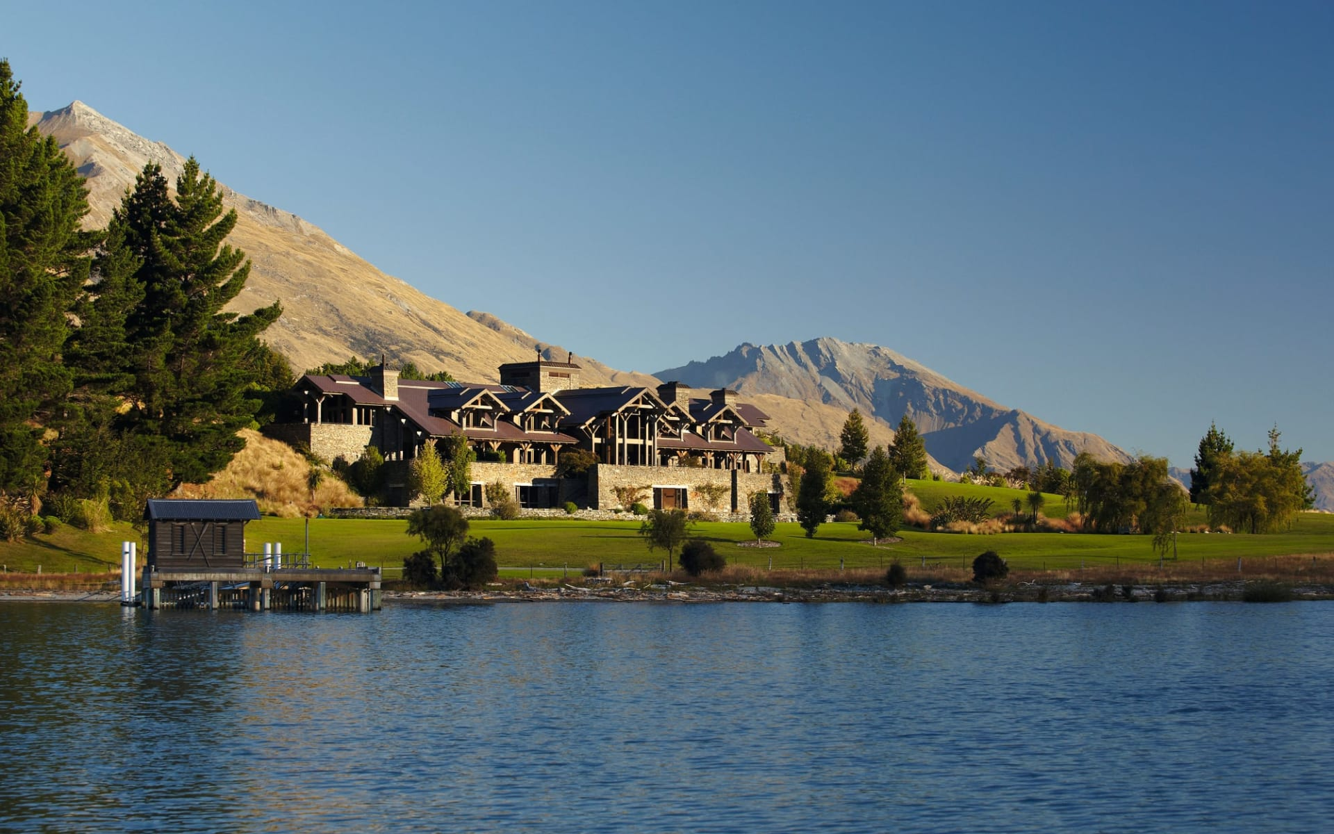 Blanket Bay in Glenorchy: Exterior Blanket Bay - Lodge from the Lake cSmall Luxury Hotels