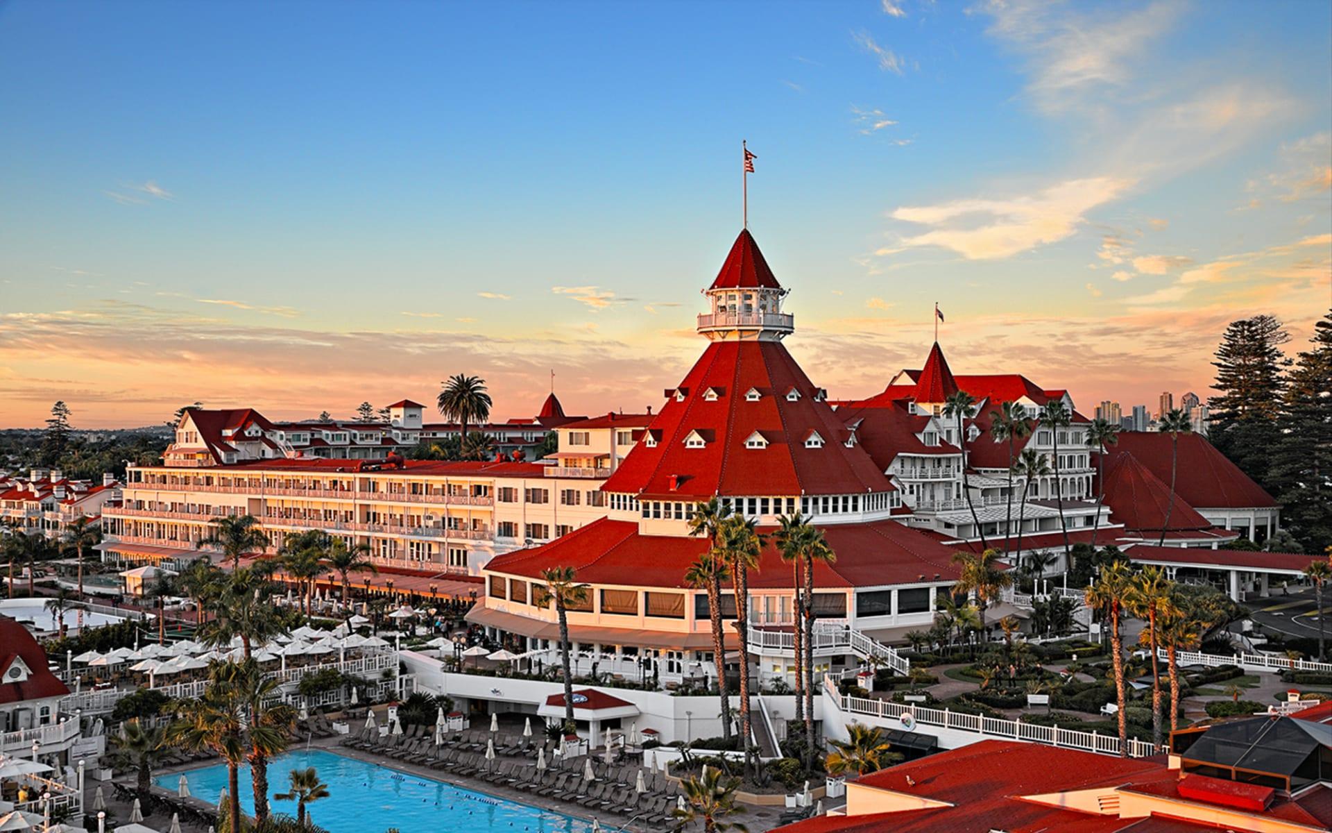 Hotel del Coronado in San Diego:  Del Coronado - Pool-sunset-turret-14-jbahu-hires