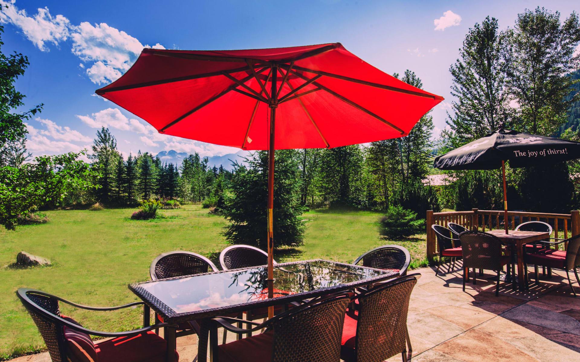 Glacier House Resort in Revelstoke:  Glacier House Resort_Patio