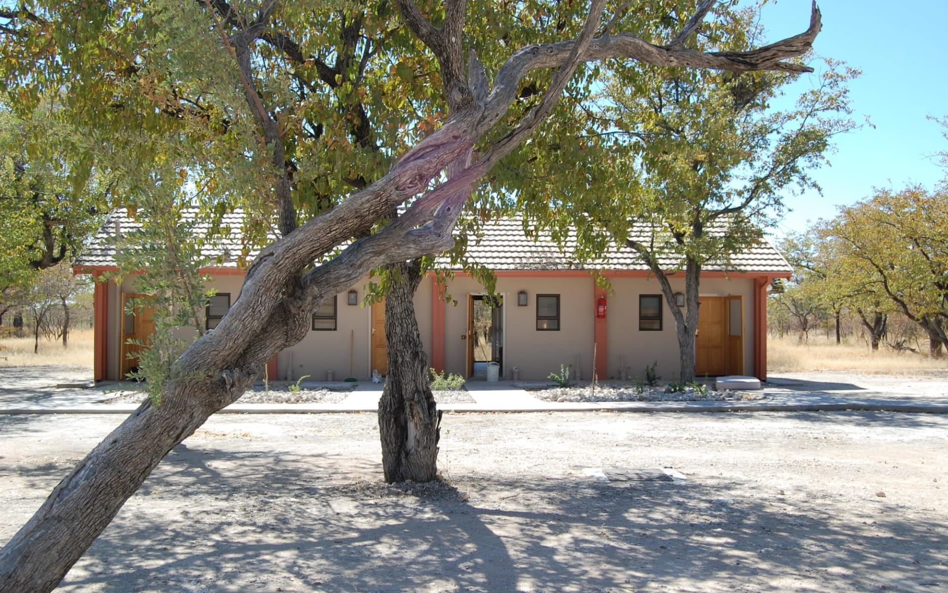 Halali Resort in Etosha Nationalpark:  Halali Outside Lea