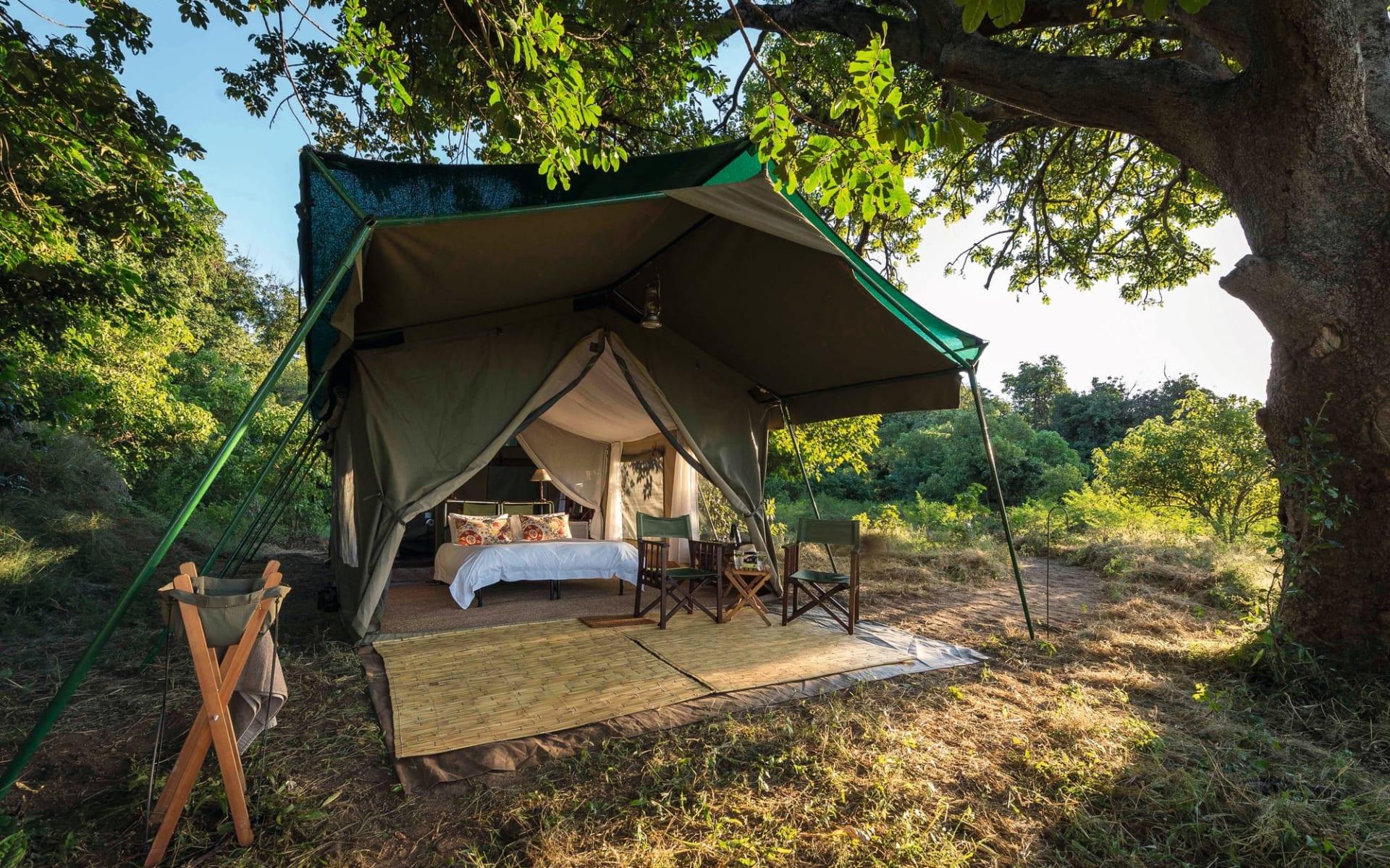 John's Camp in Mana Pools Nationalpark: Johns Camp - Zelt von aussen mit Bett c Robin Pope Safaris