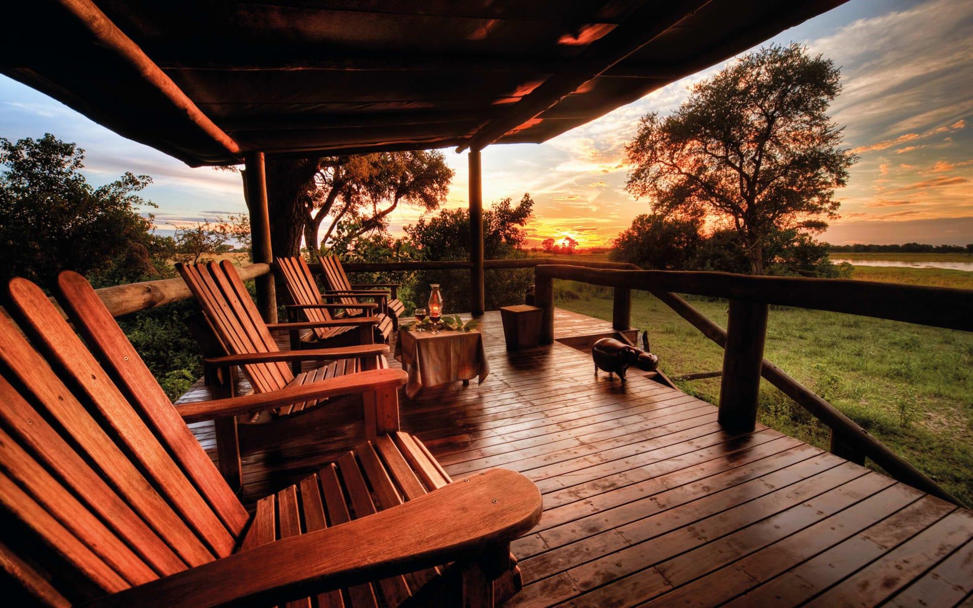 Kwara in Okavango Delta: Kwara - Terrasse mit Sonnenuntergang c Kwando