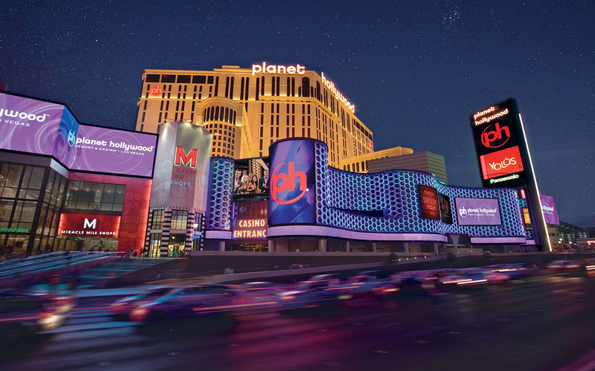 Planet Hollywood Resort & Casino in Las Vegas:  Planet Hollywood - Aussenansicht bei Nacht