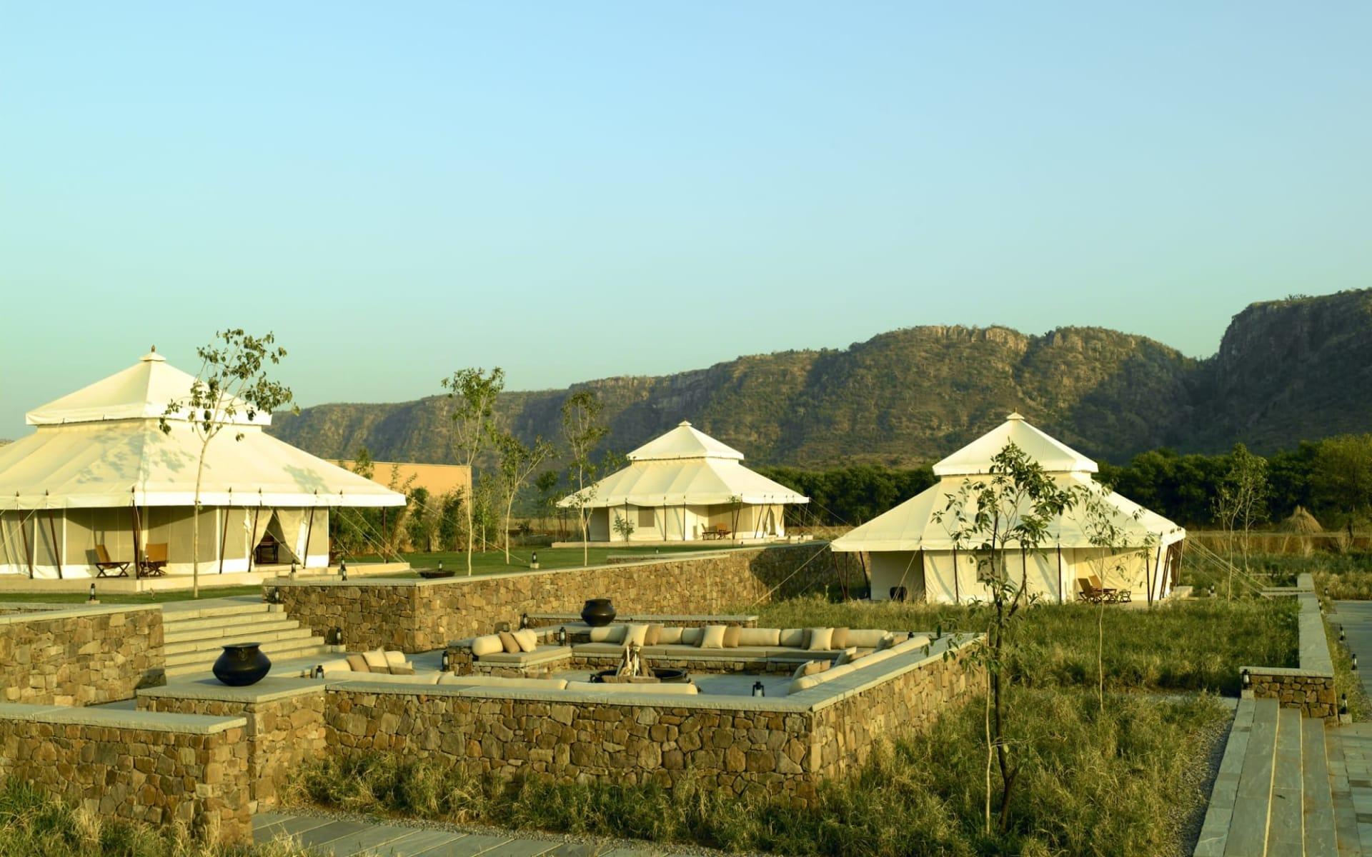 Aman-i-Khas in Ranthambore: tents and aravalli hills