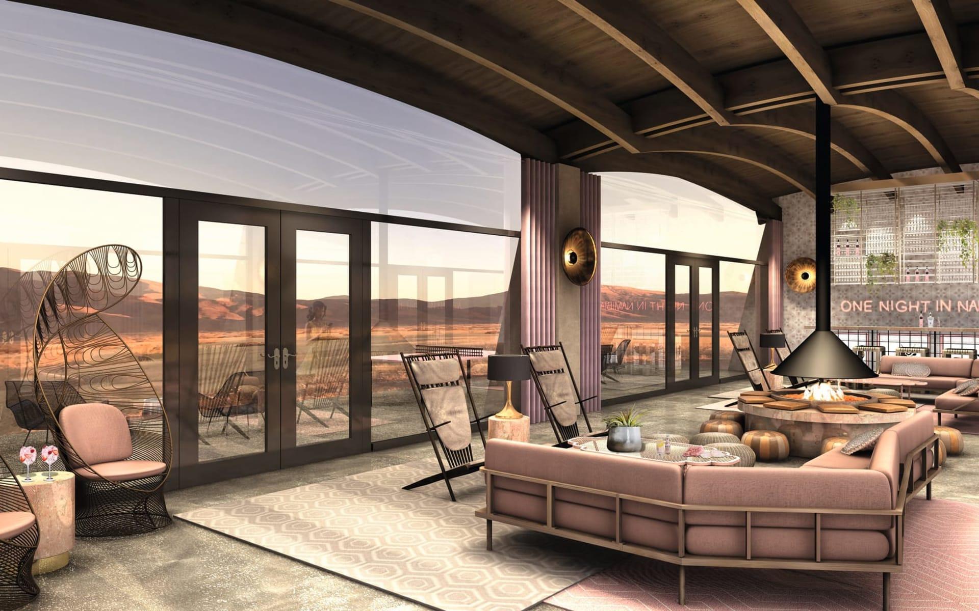 The Desert Grace Lodge in Sesriem: facilities Desert Grace - Lounge mit Kamin c Gondwana Colleciton
