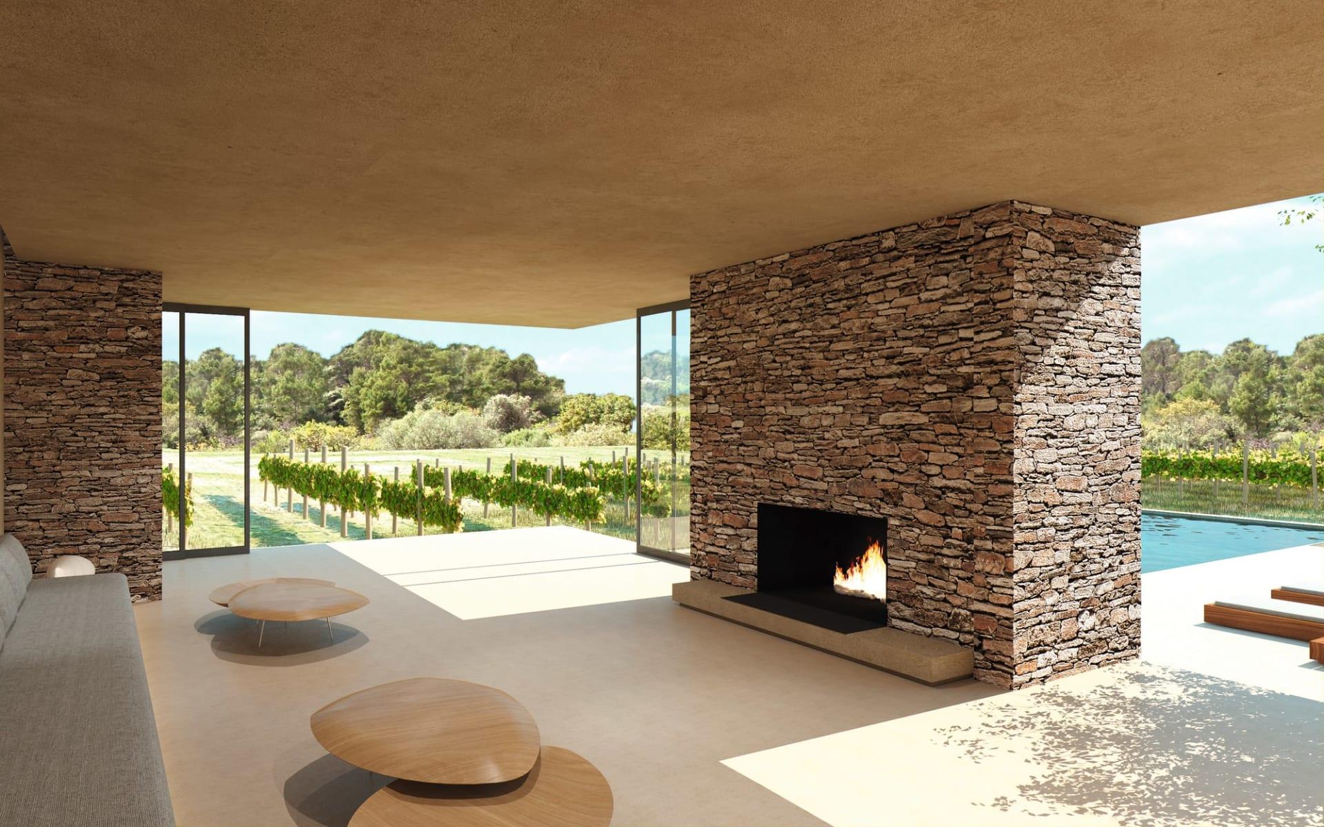 Leeu Estates in Franschhoek: facilities Leeu Collection Wohnbereich Leeu Estate mit Ofen und Terrasse