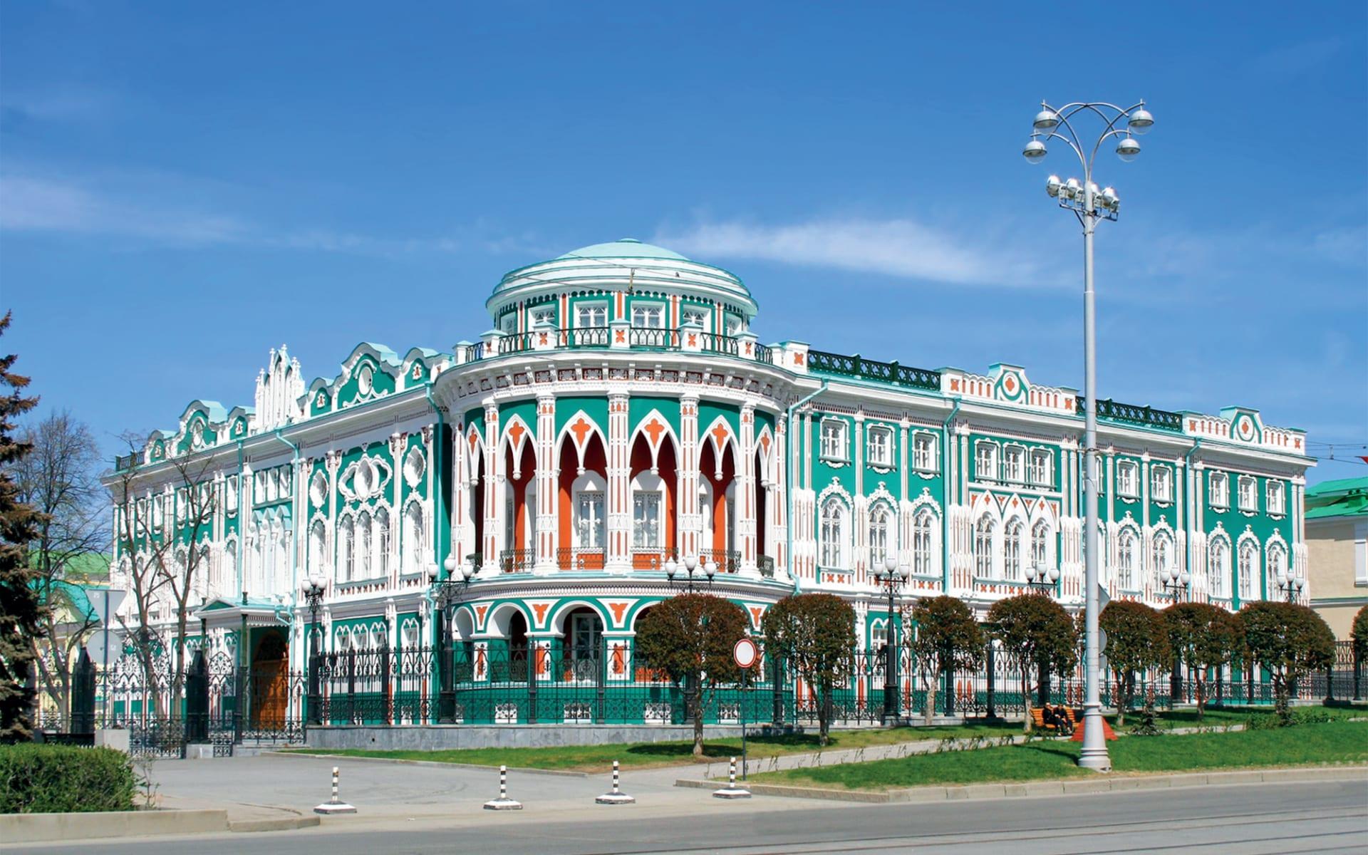 Sonderzug Zarengold Osaka -Moskau: Jekaterinburg li Sevastyanovs Haus