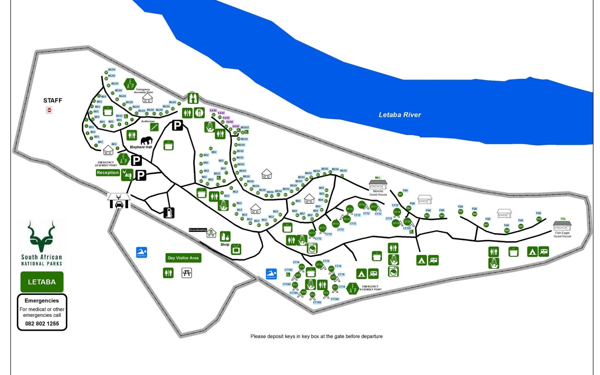 Letaba Rest Camp in Krüger Nationalpark: KNP Letaba Camp-Map