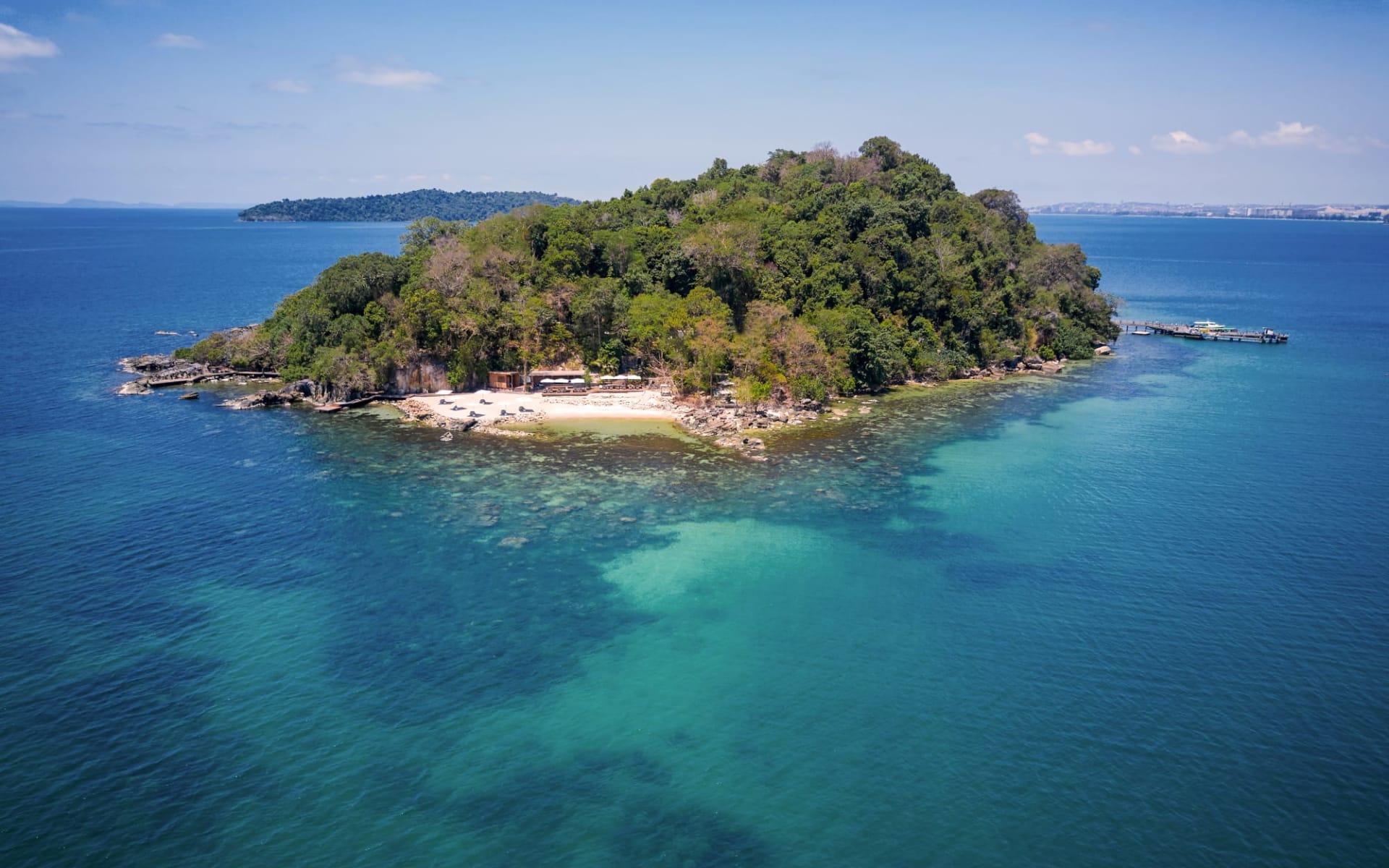 Six Senses Krabey Island in Sihanoukville & Inseln: Aerial view of Krabey Island