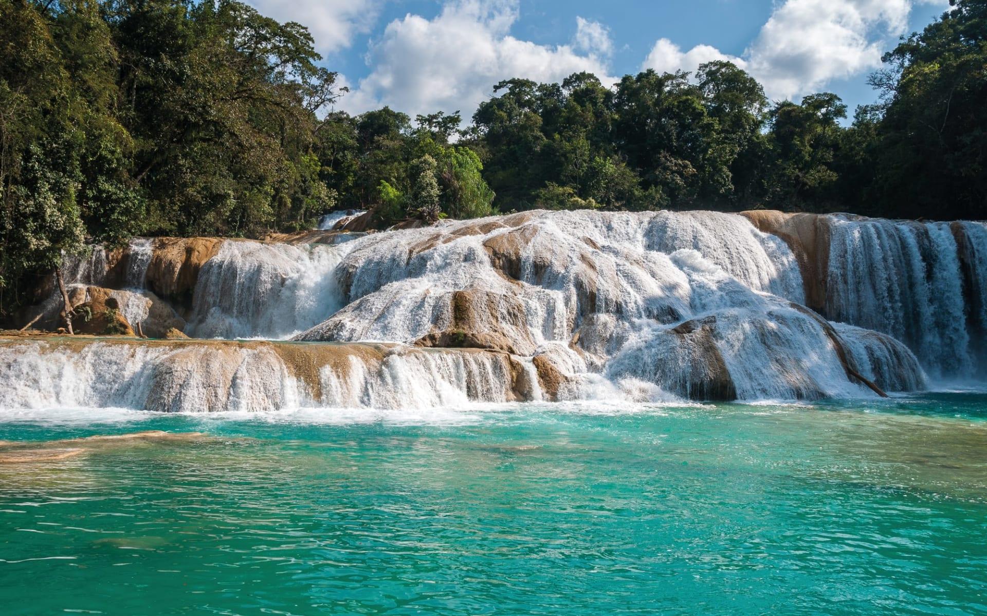 Privatreise Höhepunkte Yucatán ab Cancun: Mexico - Chiapas - Agua Azul Wasserfall