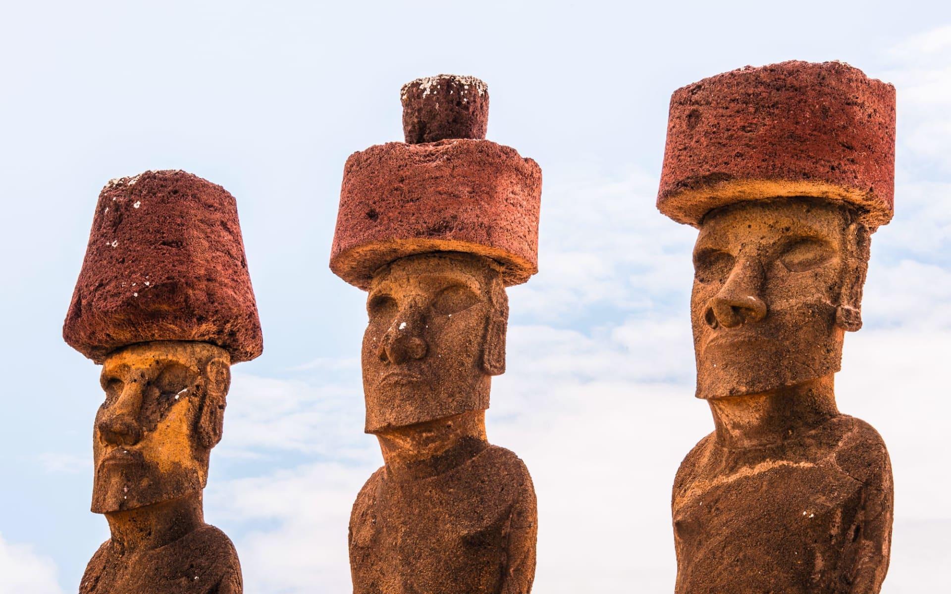 Zubucherreise Osterinsel - Ahus und Moaiis ab Hanga Roa: Drei Moais