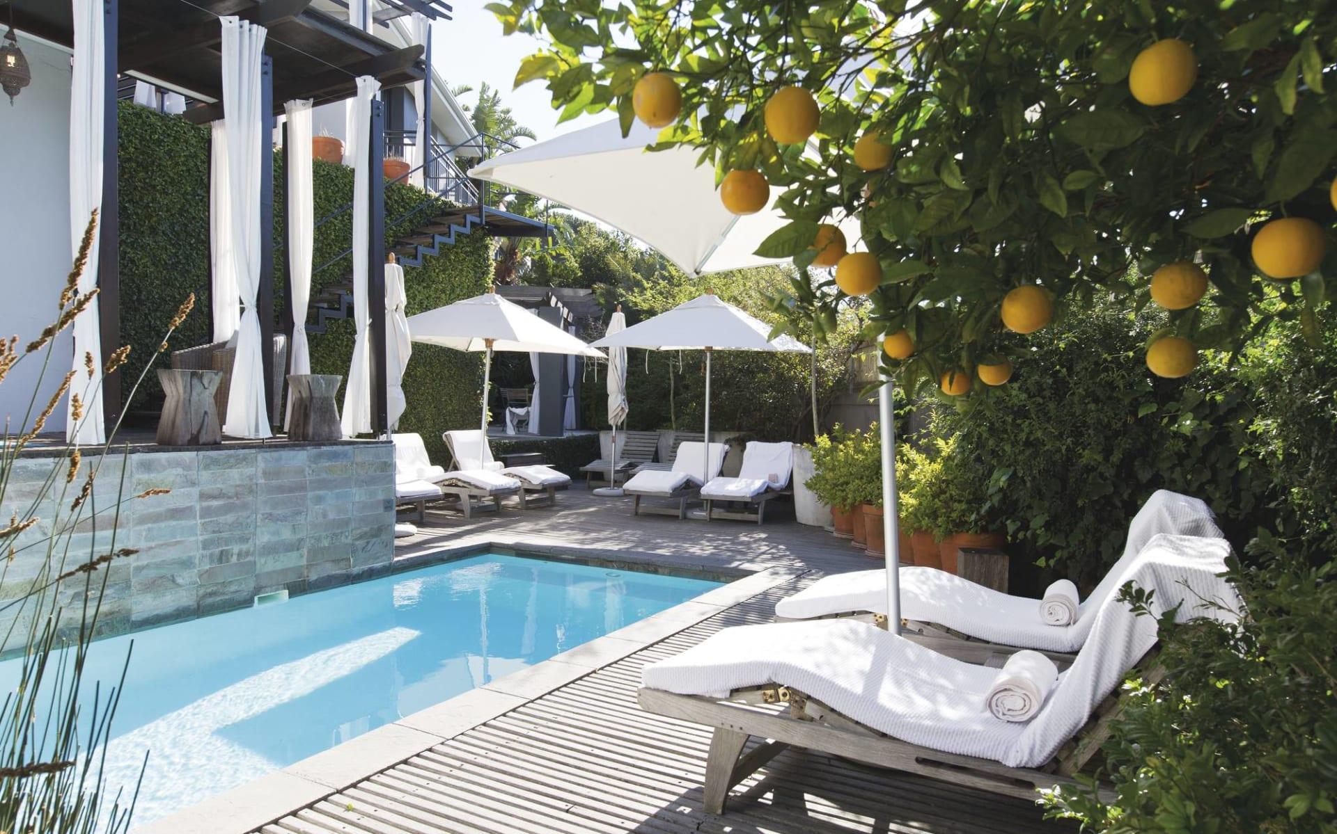 Kensington Place in Kapstadt: pool Kensington Place - Pool im Garten mit Liegestuehlen