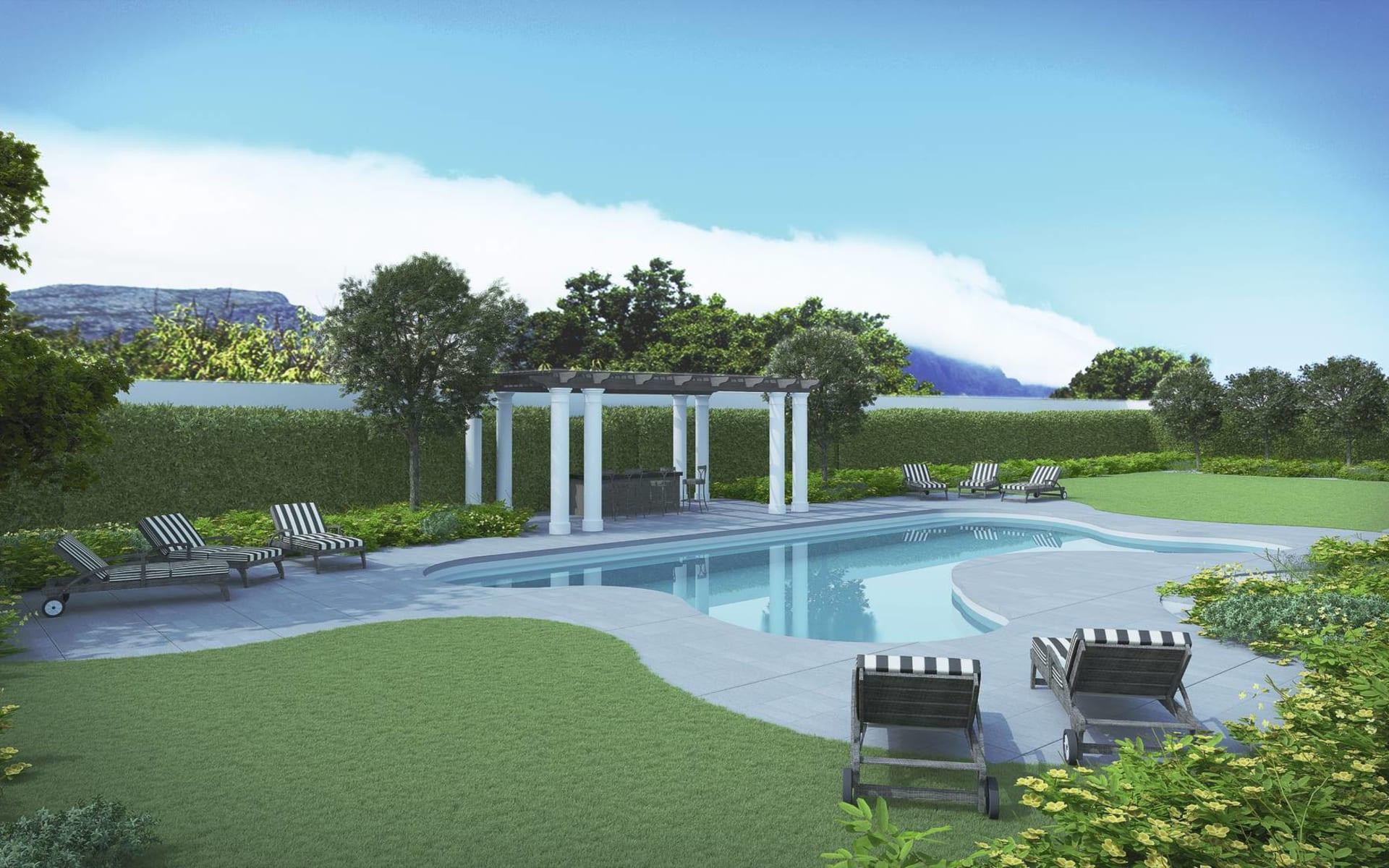 Leeu House in Franschhoek: pool Leeu Collection Poolbereich von Leeu House mit Garten