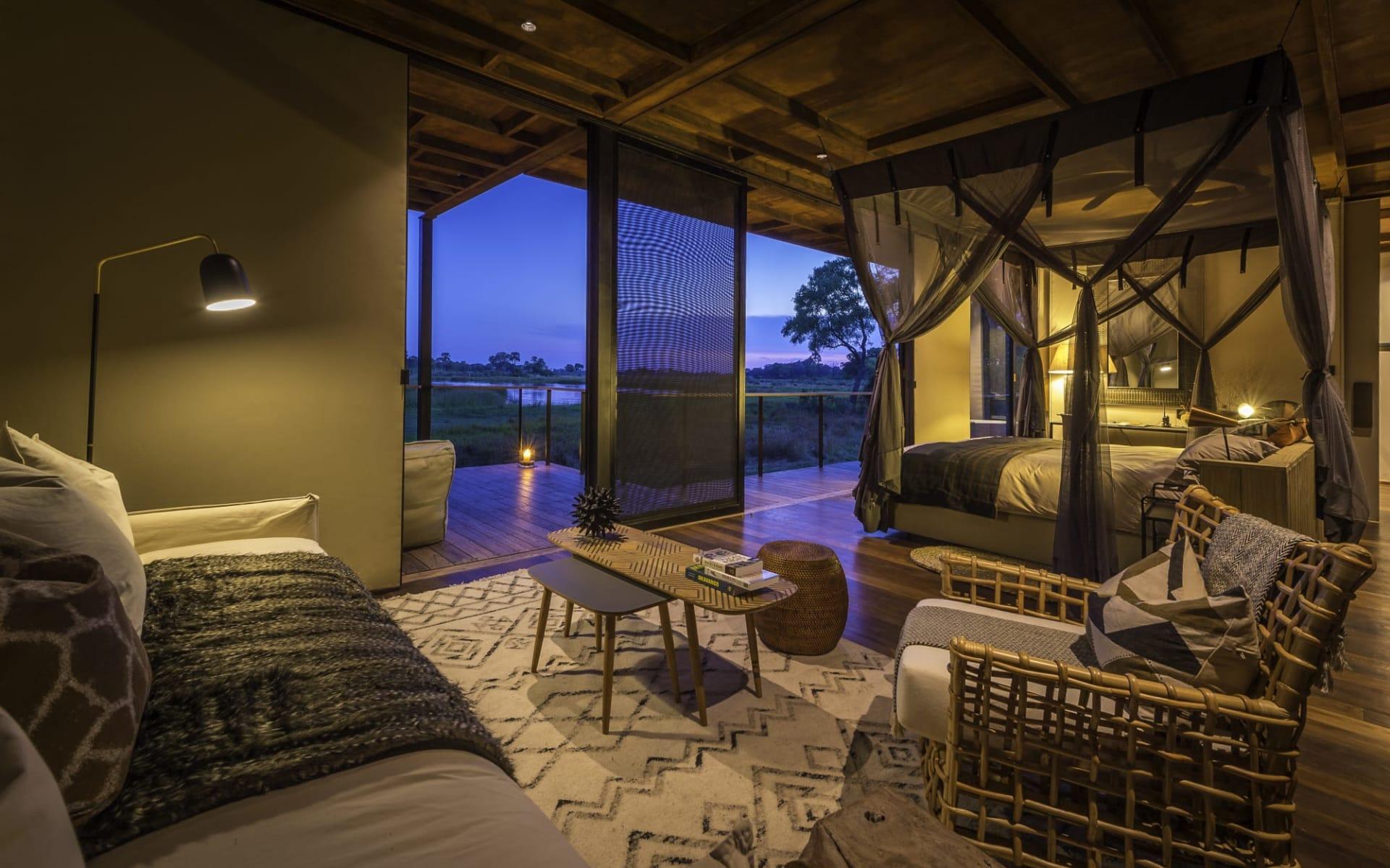 Qorokwe Camp in Okavango Delta: Qorokwe Camp - Bett mit Terrasse c Wilderness Safaris