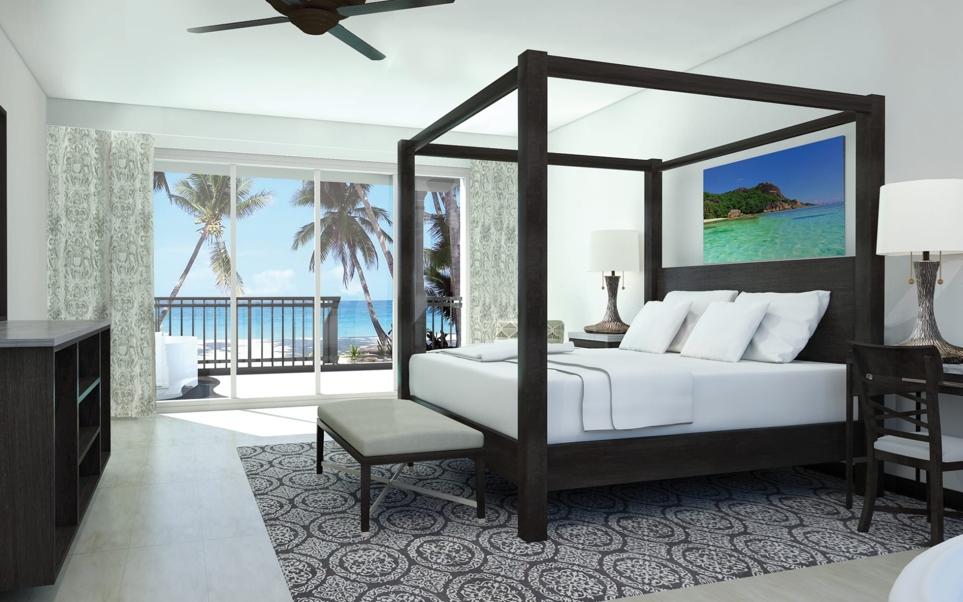 Sandals Royal Caribbean Resort and Private Island in Montego Bay:  14_258_02_Sandals Royal Caribbean GBT Bedroom Artist Impression 1