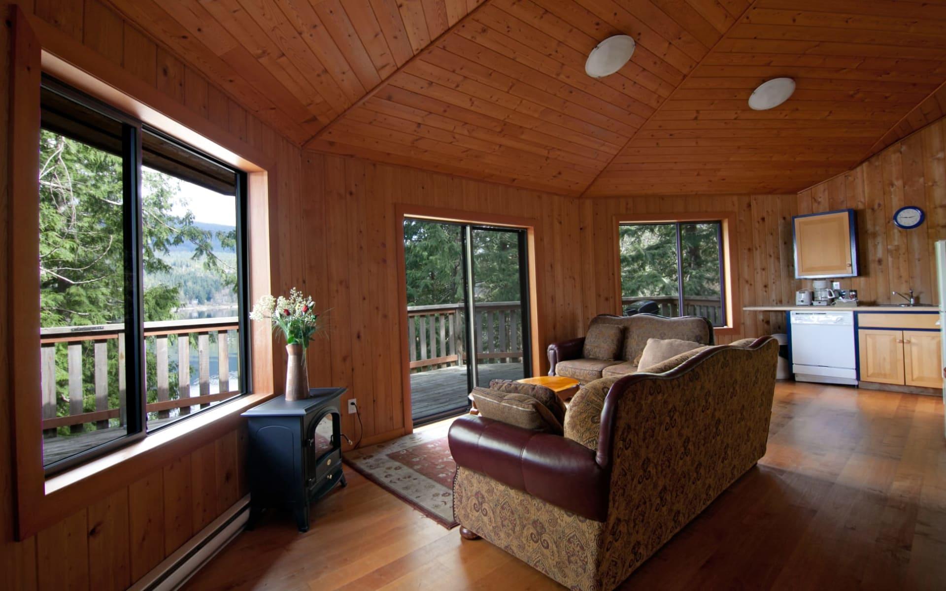 Desolation Sound Wilderness Resort in Powell River:  Desolation Resort_Chalet1LivingArea&Kitchen