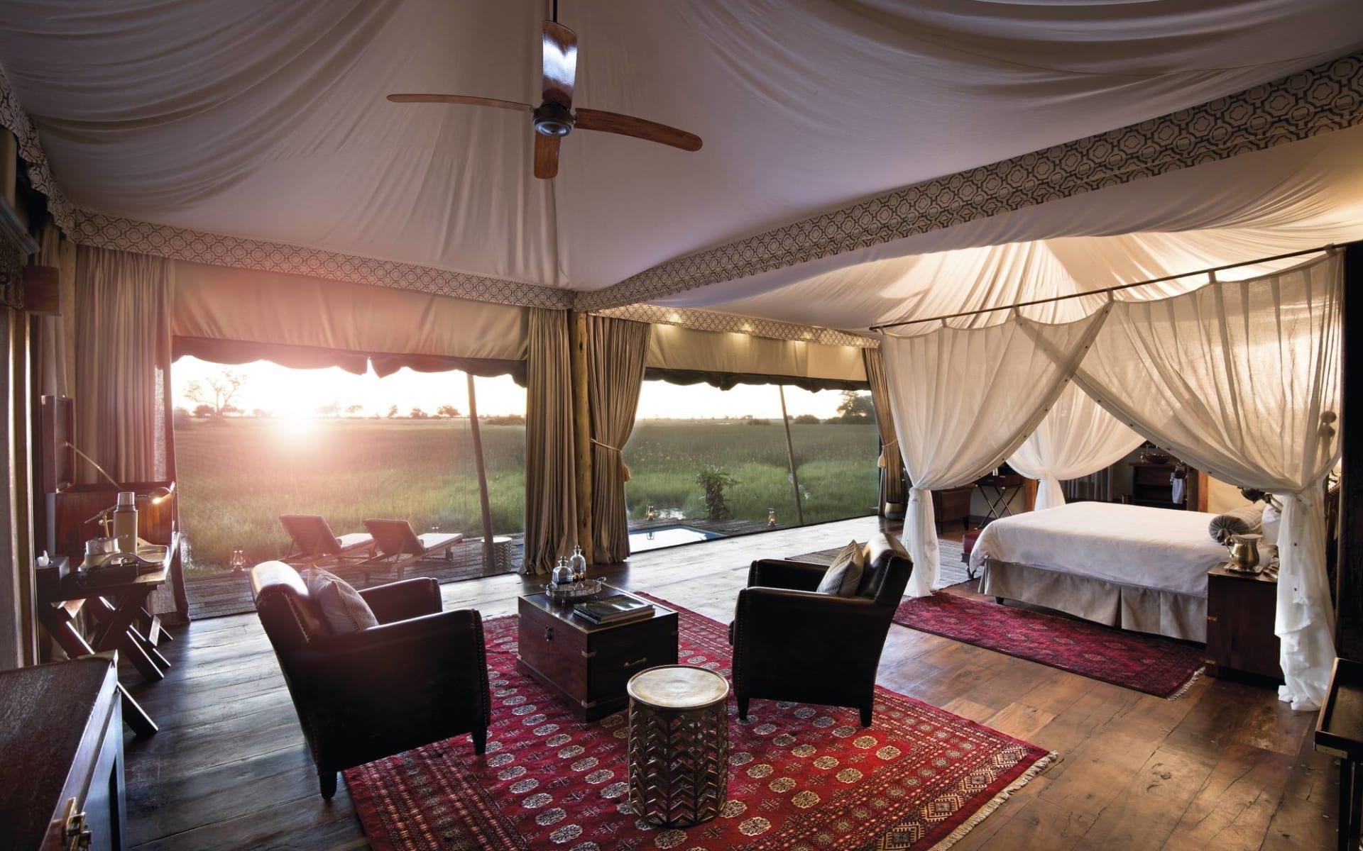 Duba Plains Suite in Okavango Delta:  Duba Plains Suite - Zimmer mit Sitzecke c Great Plains