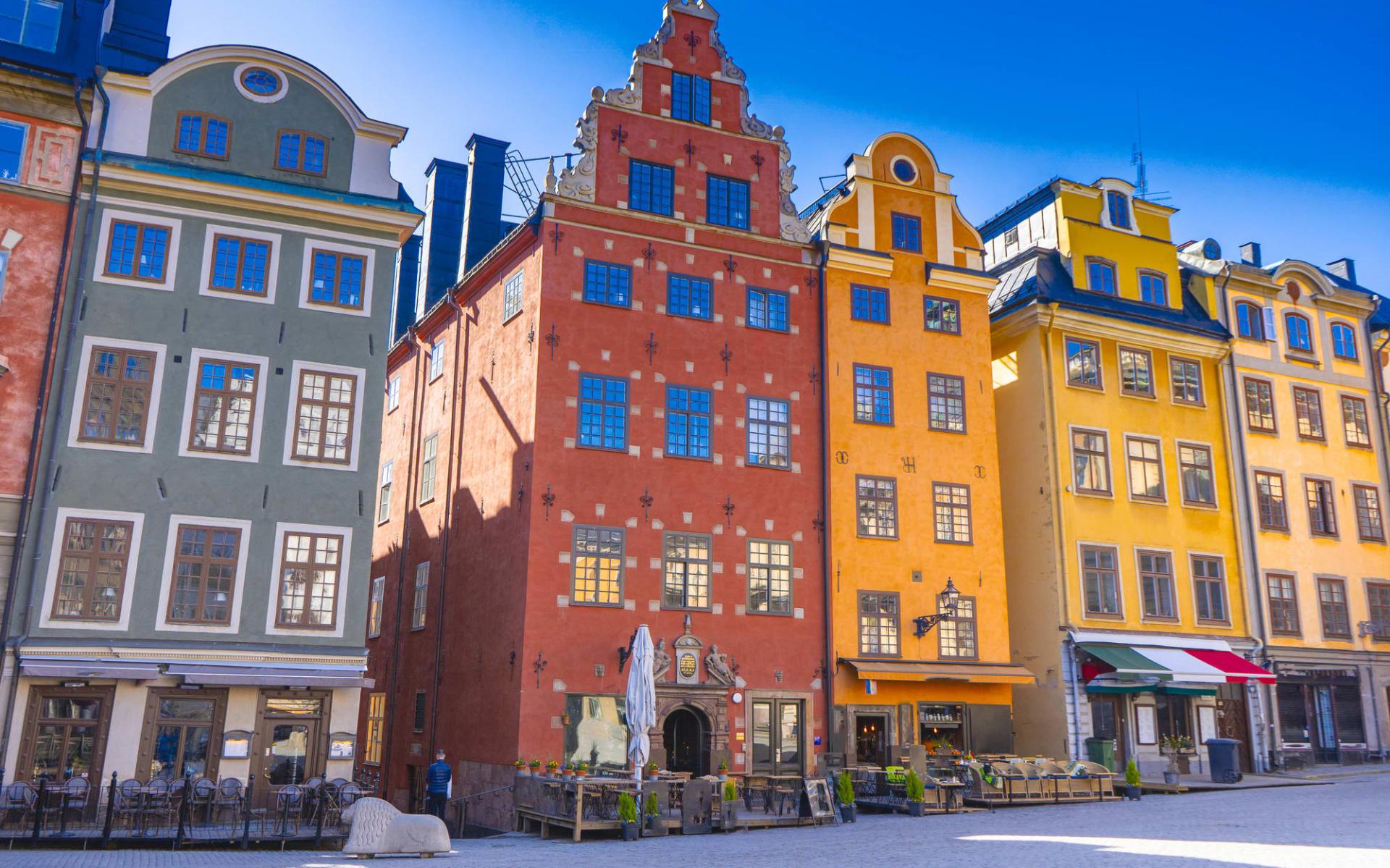First Reisen in Stockholm: Stortorget (der Große Platz) ist ein öffentlicher Platz in Gamla Stan, der Altstadt von Stockholm