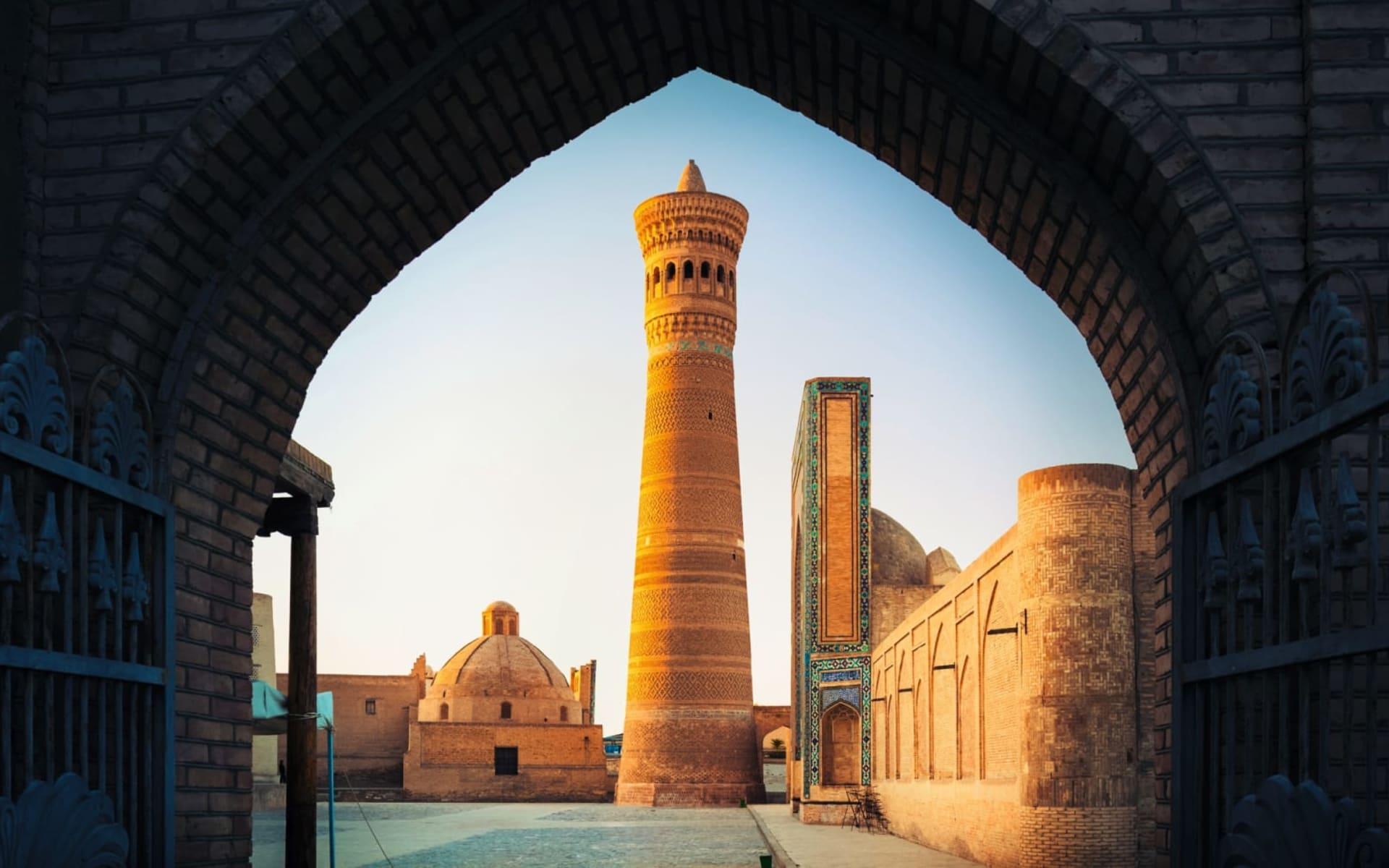 Golden Eagle, Luxuriös im Kaukasus und in Zentralasien unterwegs ab Yerewan: Usbekistan_Buchara_Kalon_Minarett_Moschee_shutterstock_524042716_DudarevMikhail