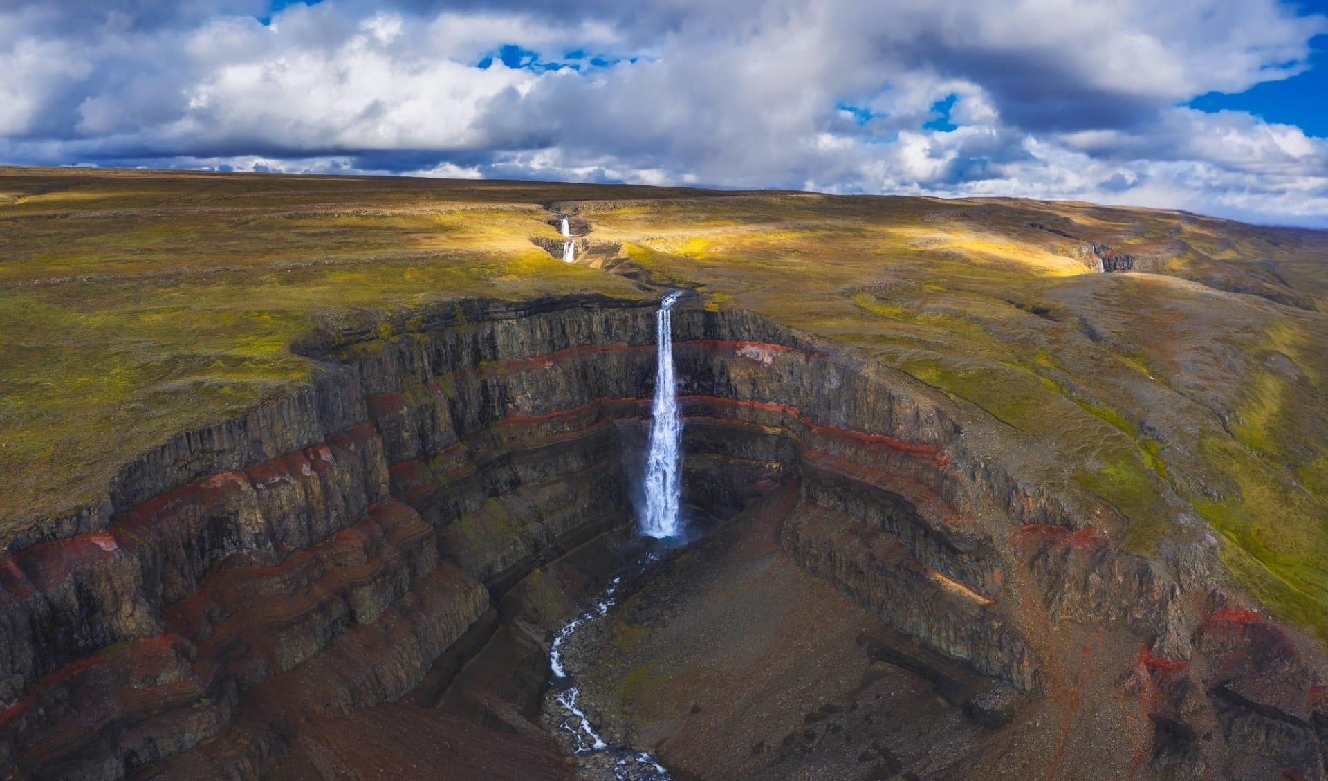 Hengifoss Guesthouse in Faskrudsfördur: Aerial view of the Hengifoss waterfall in East Iceland.