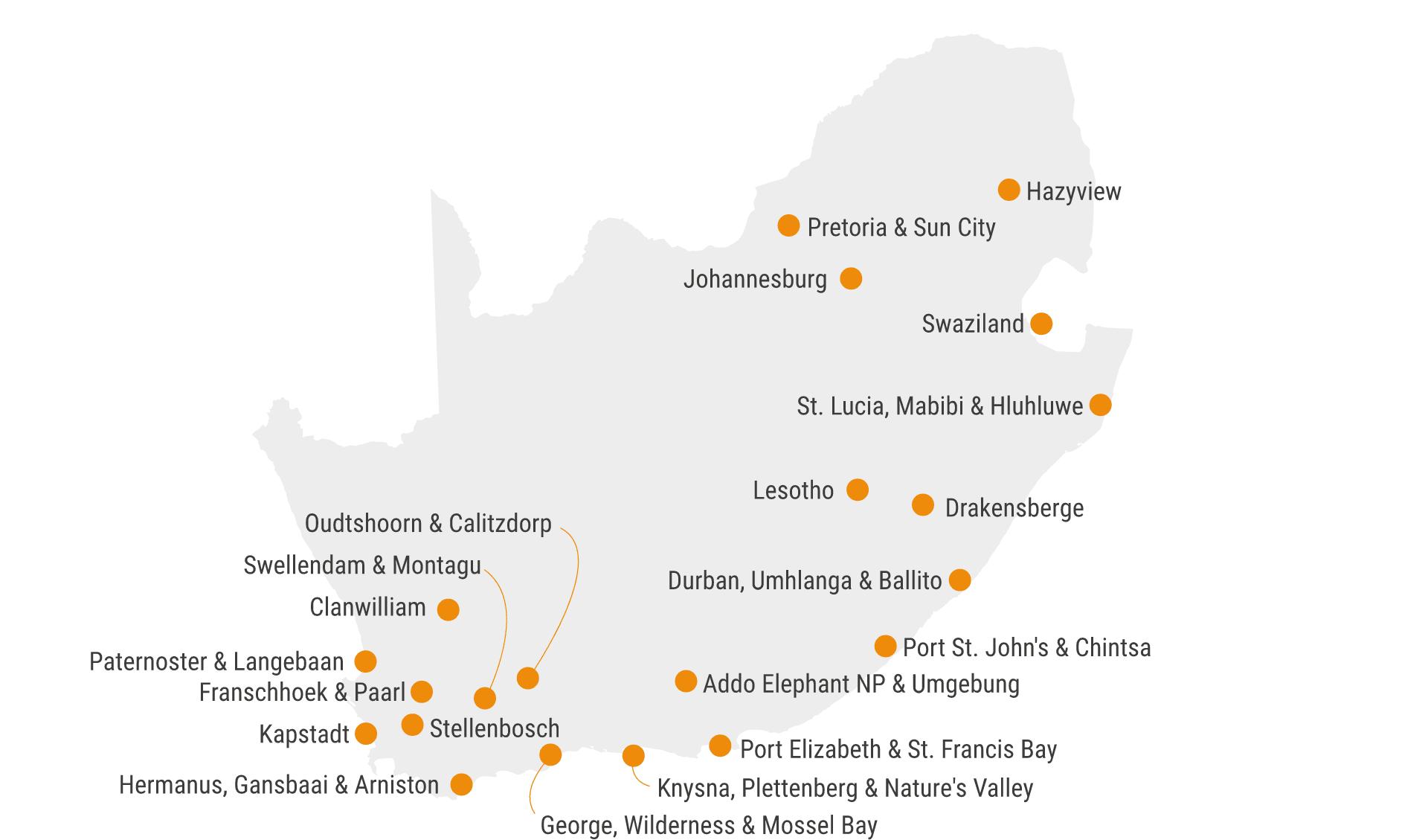 Karte Südafrika Hotels