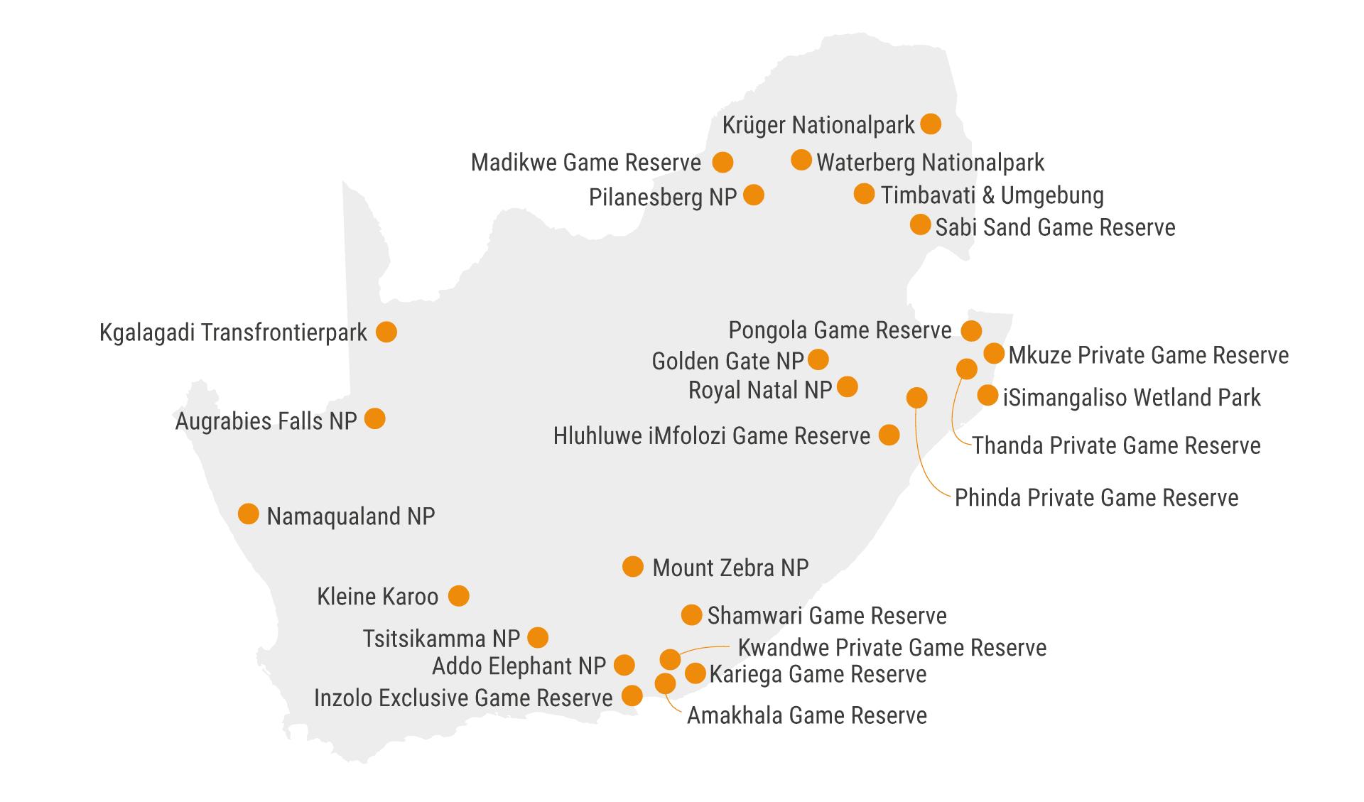 Karte Südafrika NP