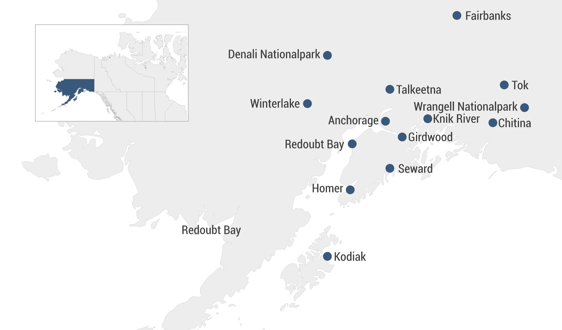 Karte Hotels Alaska