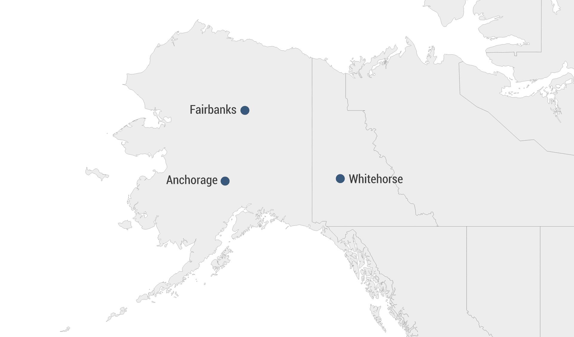 Karte Alaska und Yukon