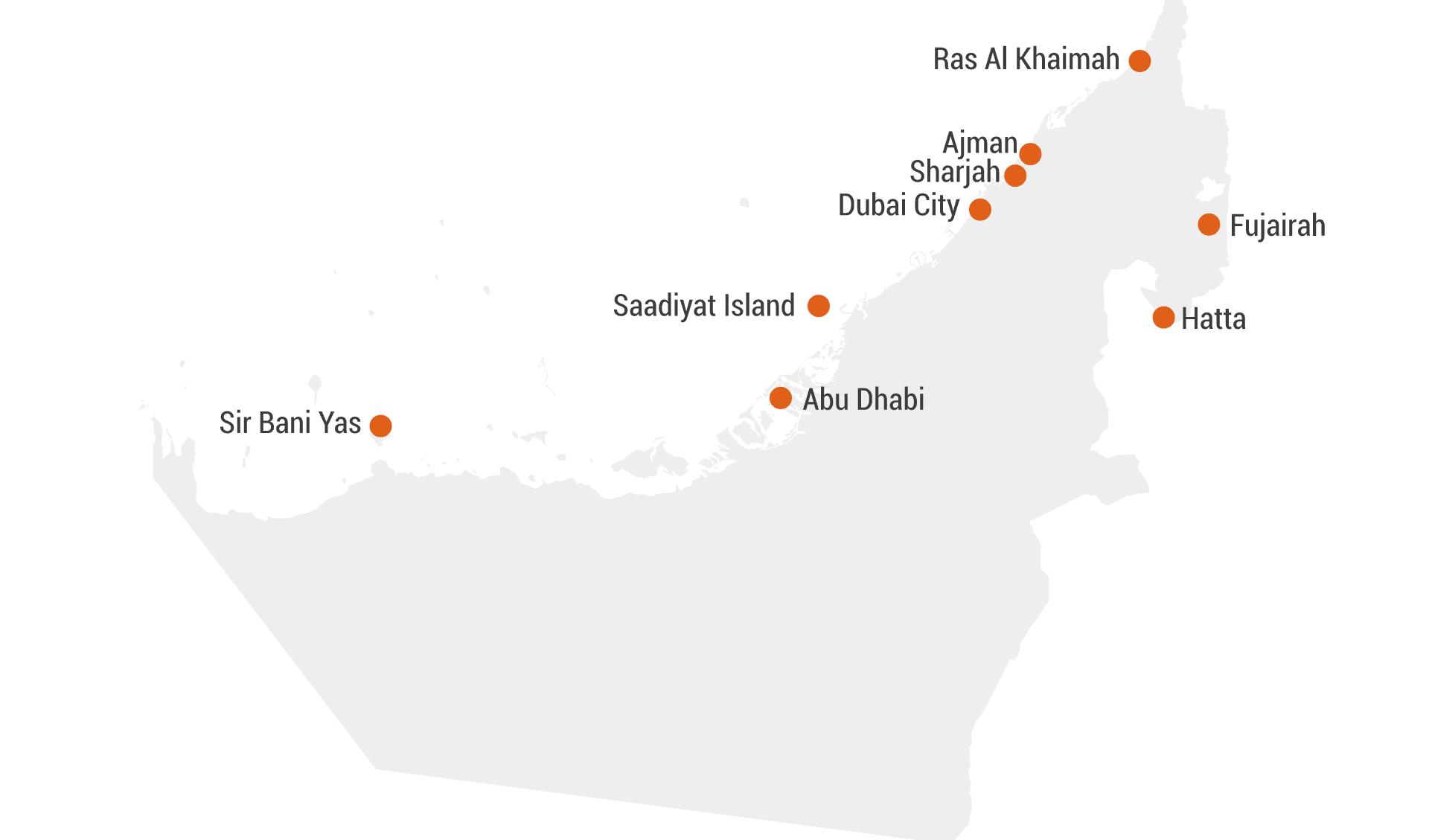 Karte Hotels Emirates