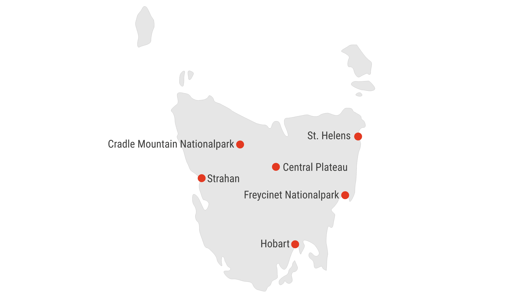 Karte Tasmanien