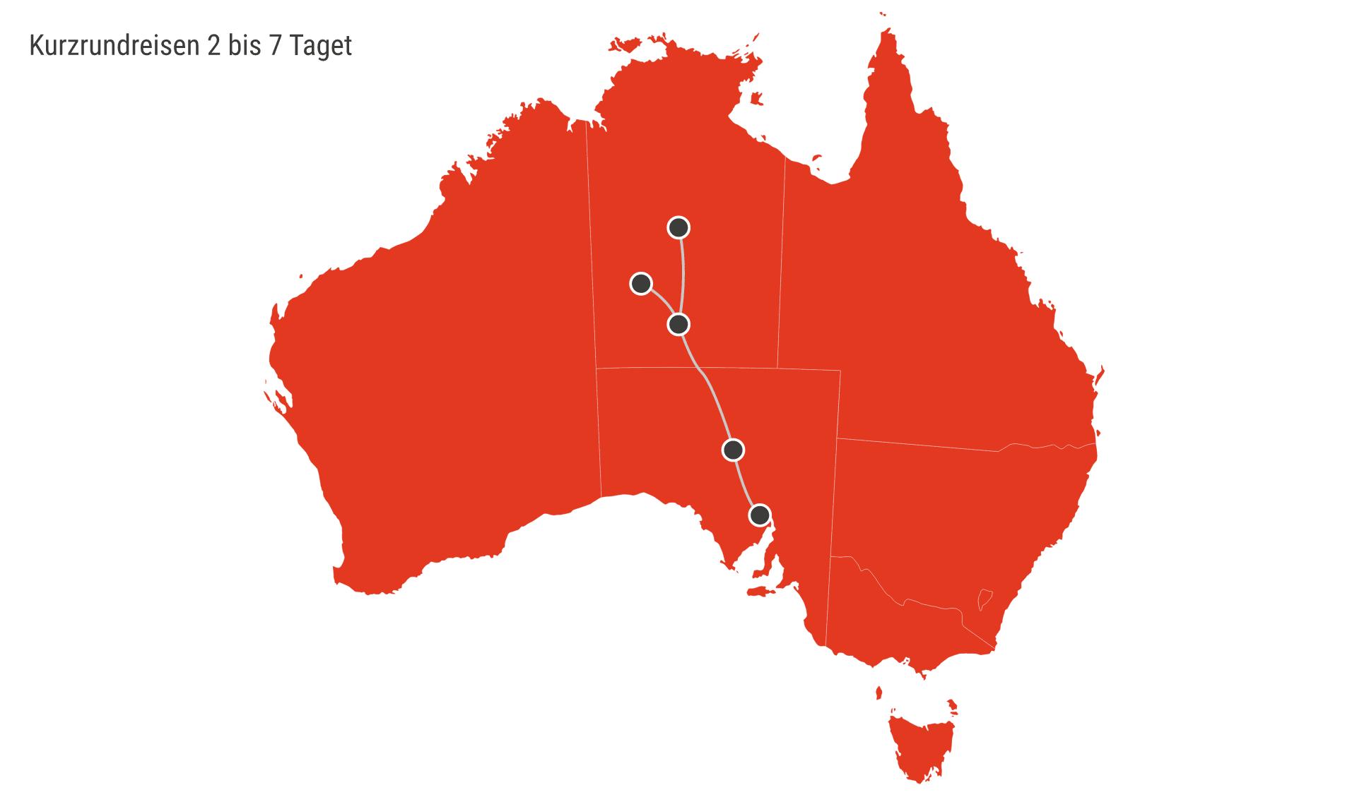 Karte Australien Rundreisen 2 - 7 Tage