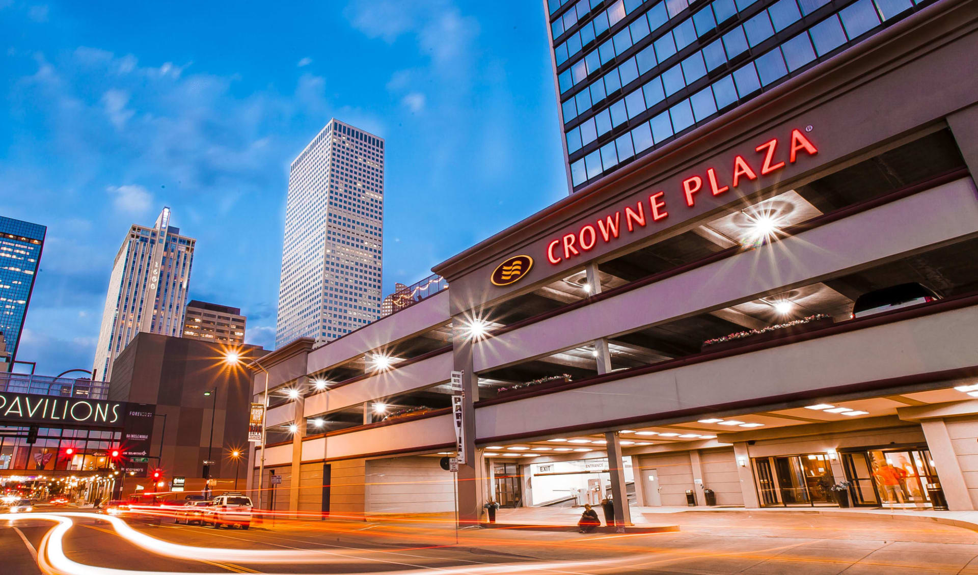Sonesta Denver:  Crowne Plaza Denver - long exposure evening