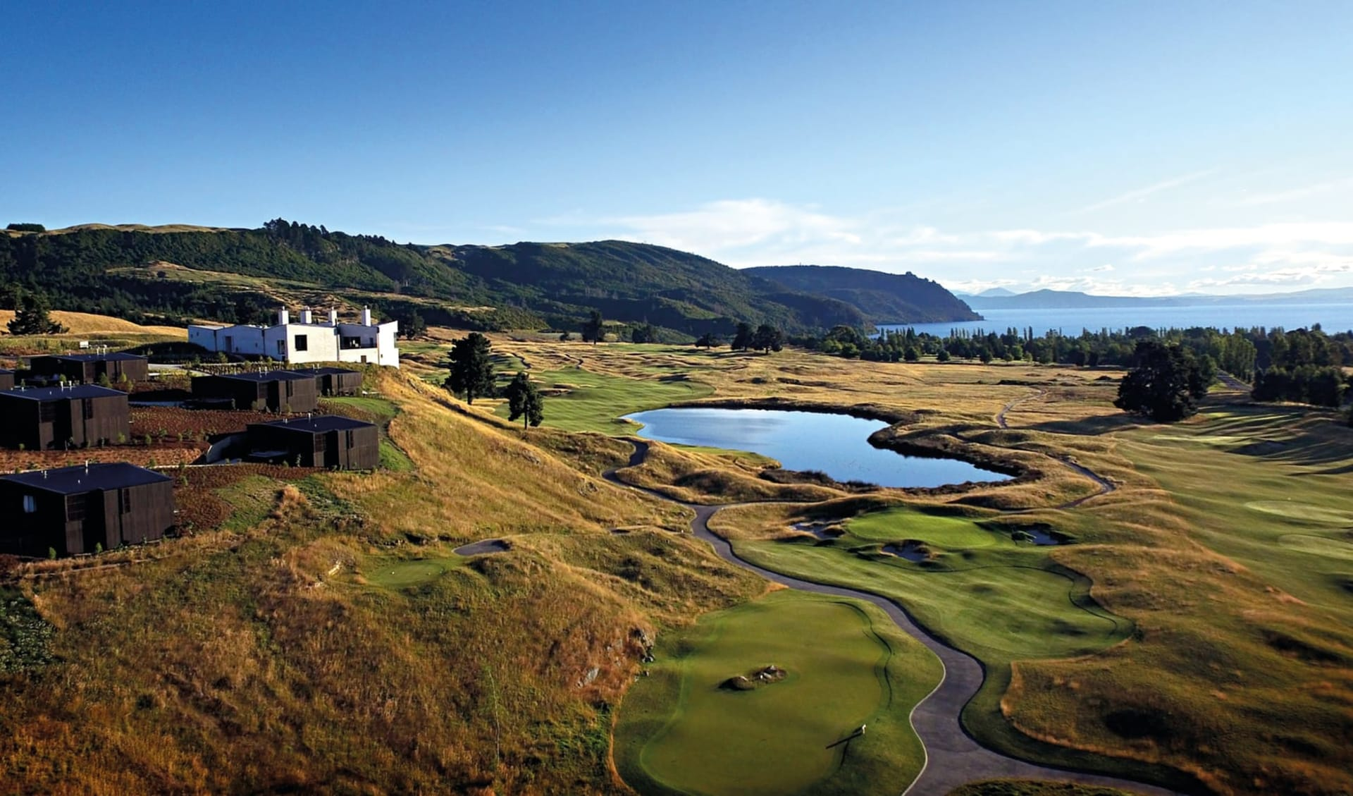 Kinloch Manor & Villas in Taupo:  Kinloch Club Lodge - Aerial View to Lake Taupo