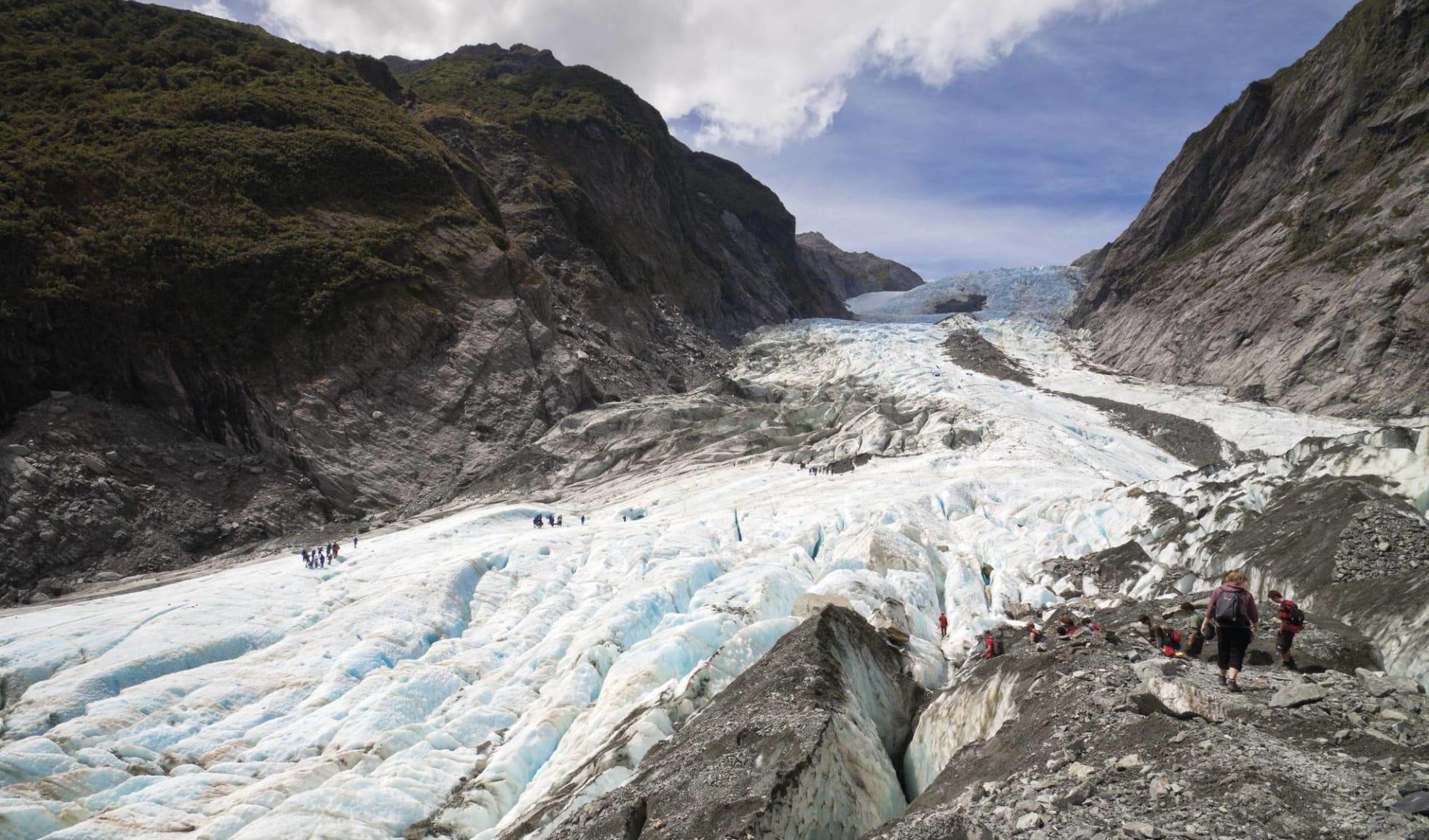 Faszination Südinsel ab Christchurch: Franz Josef - Gletscher - Eisstrom