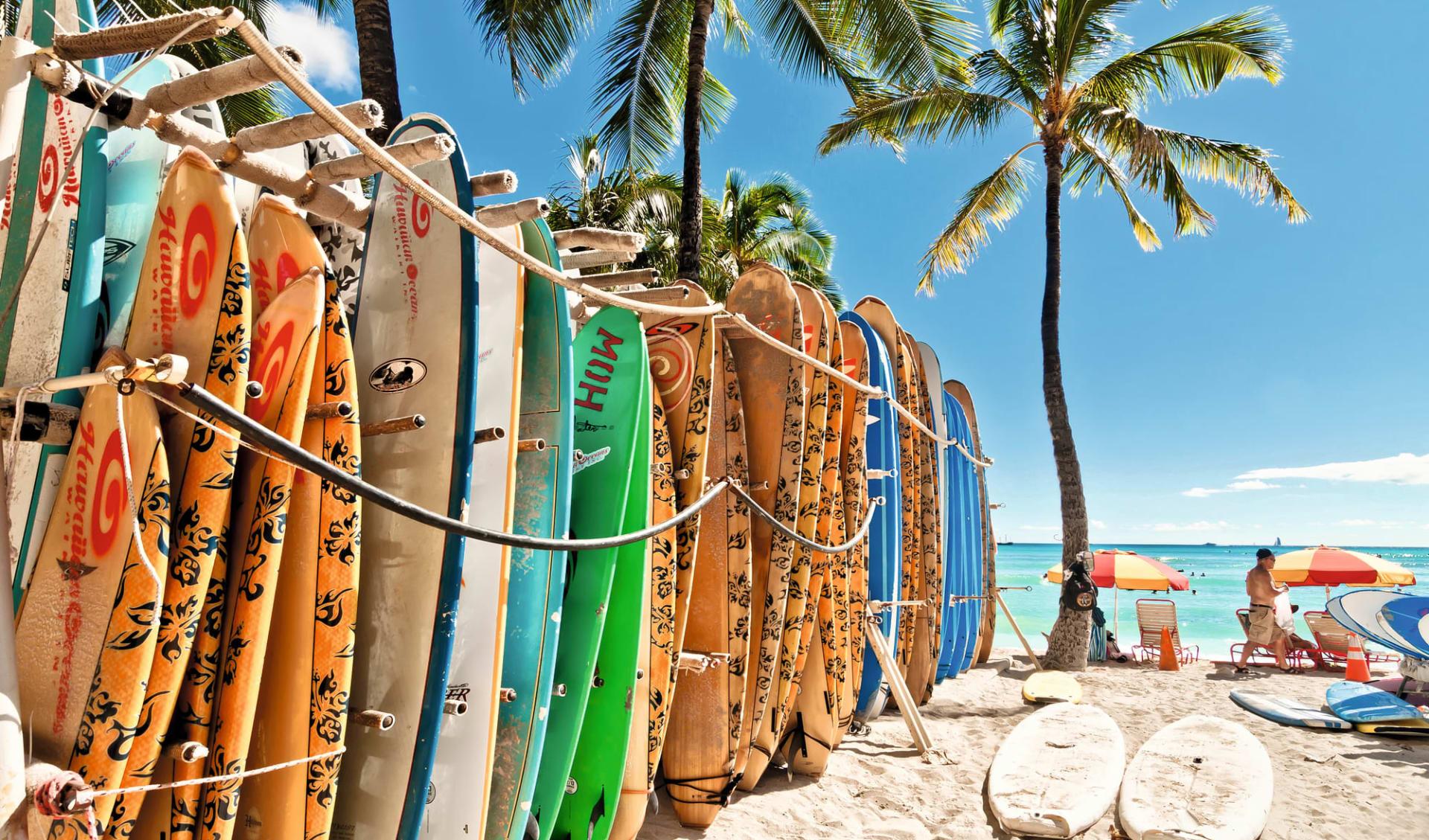 Hawaii Island Hopping ab Honolulu - Oahu: Hawaii - Waikiki Beach - Surfbretter