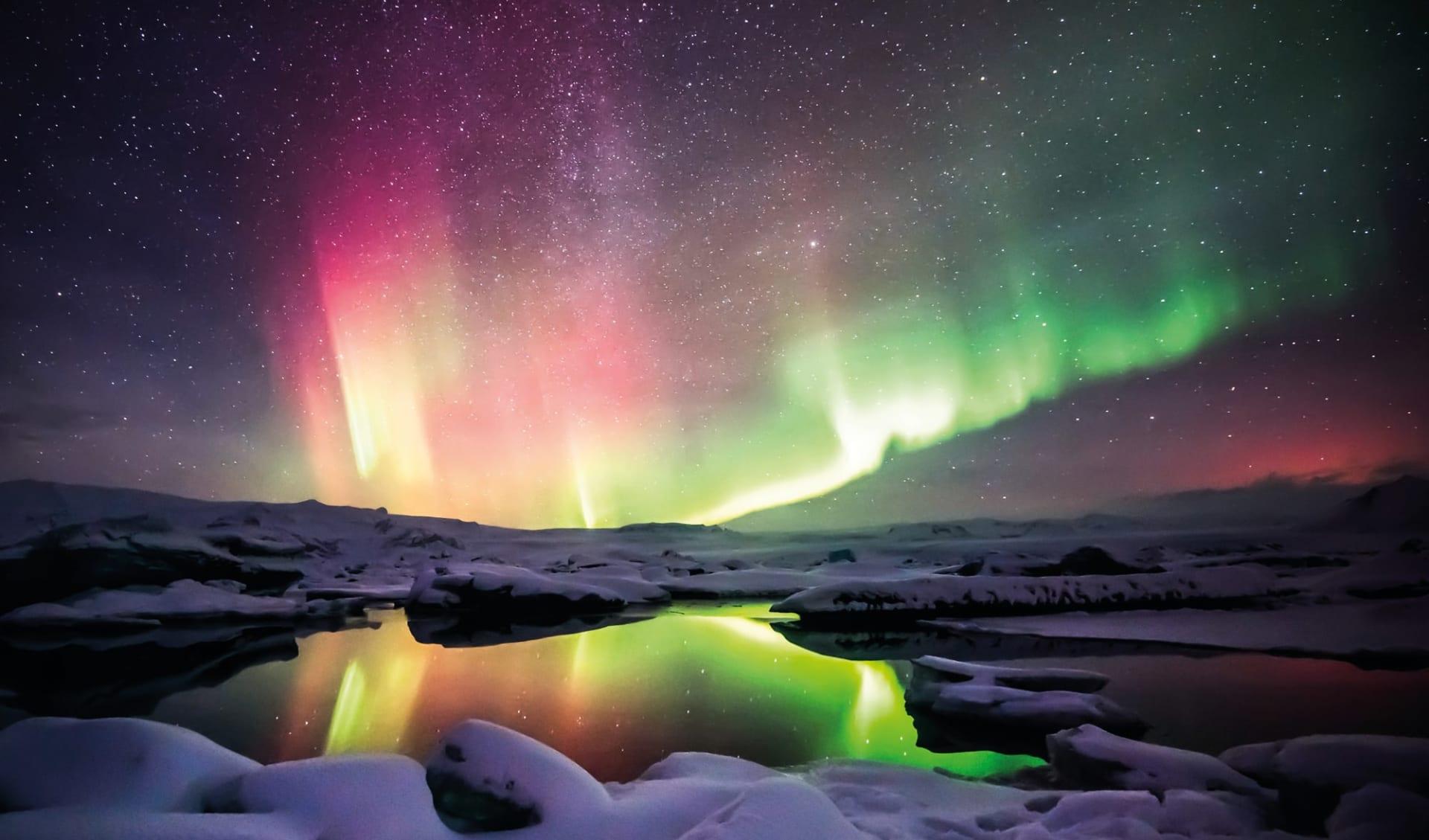 Nordlichter und heisse Quellen ab Reykjavik: Island Nordlichter