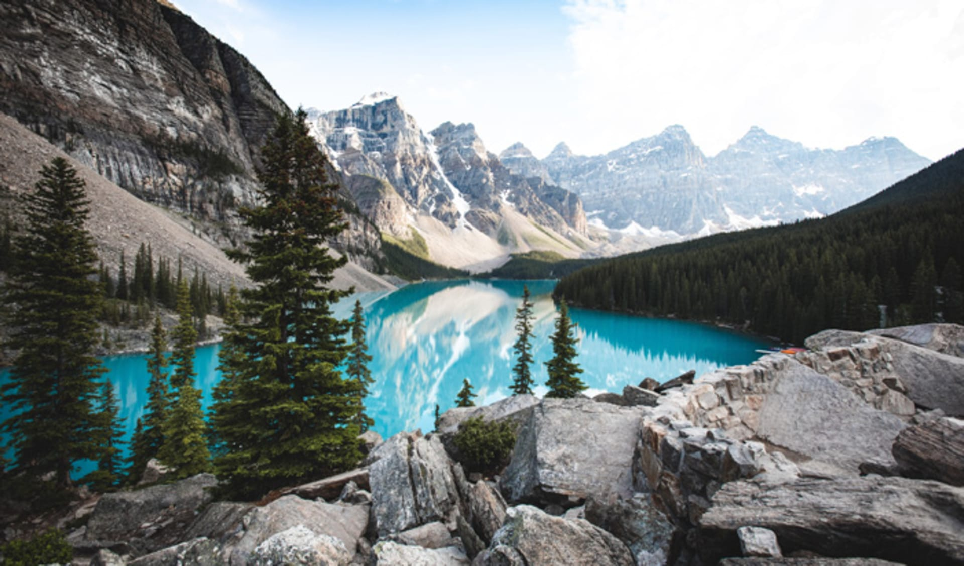View of Moraine Lake from the Rock Pile in Banff, Alberta
