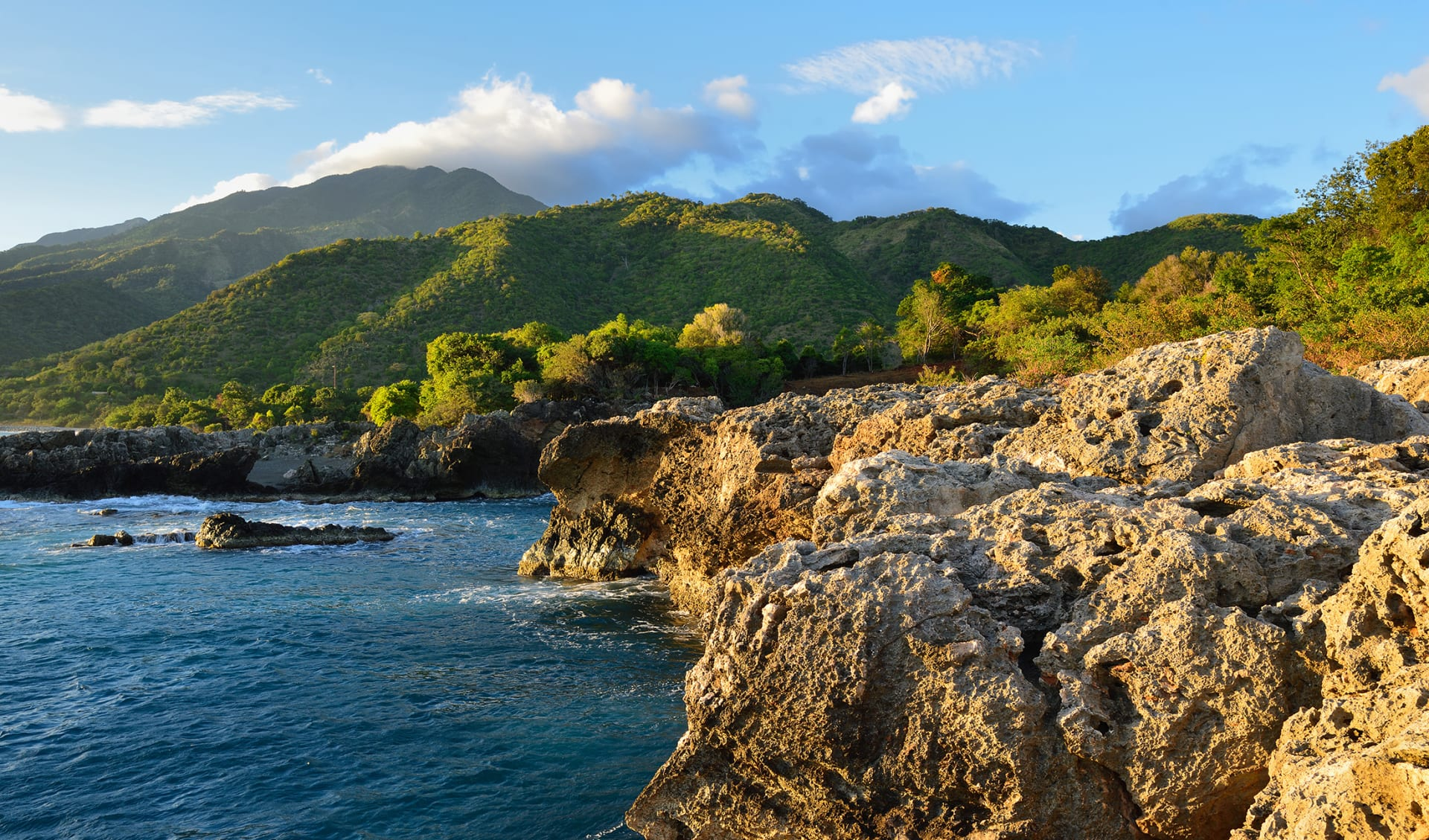 Cuban coast of mountains Sierra Maestra and above the coast of the Caribbean sea