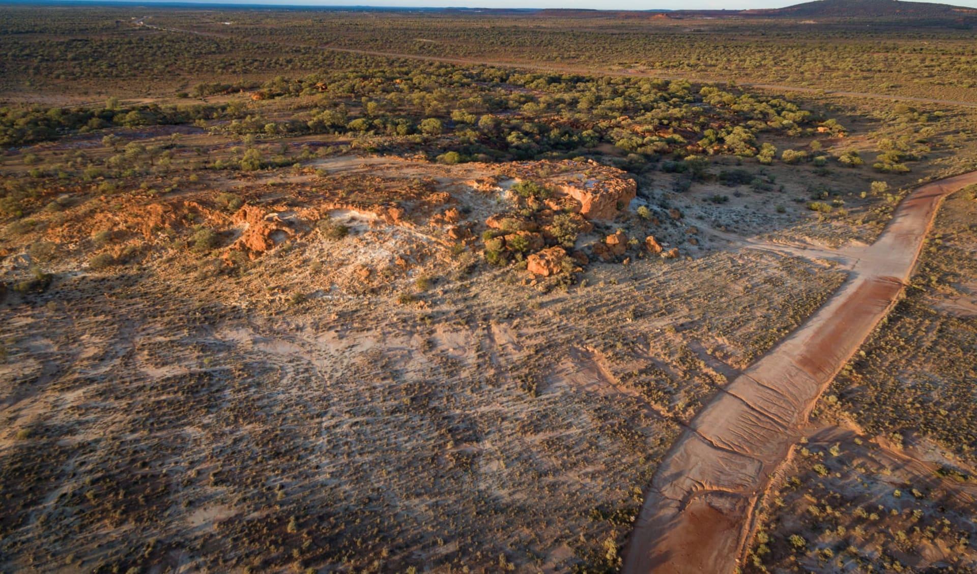 Canning Stock Route ab Perth: Luftaufnahme von rotem Ocker