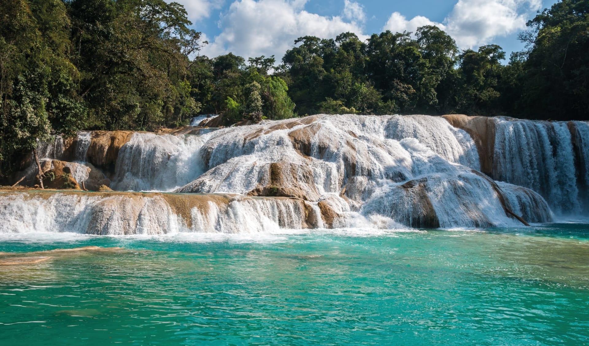 Yucatán ab Cancun: Mexico - Chiapas - Agua Azul Wasserfall